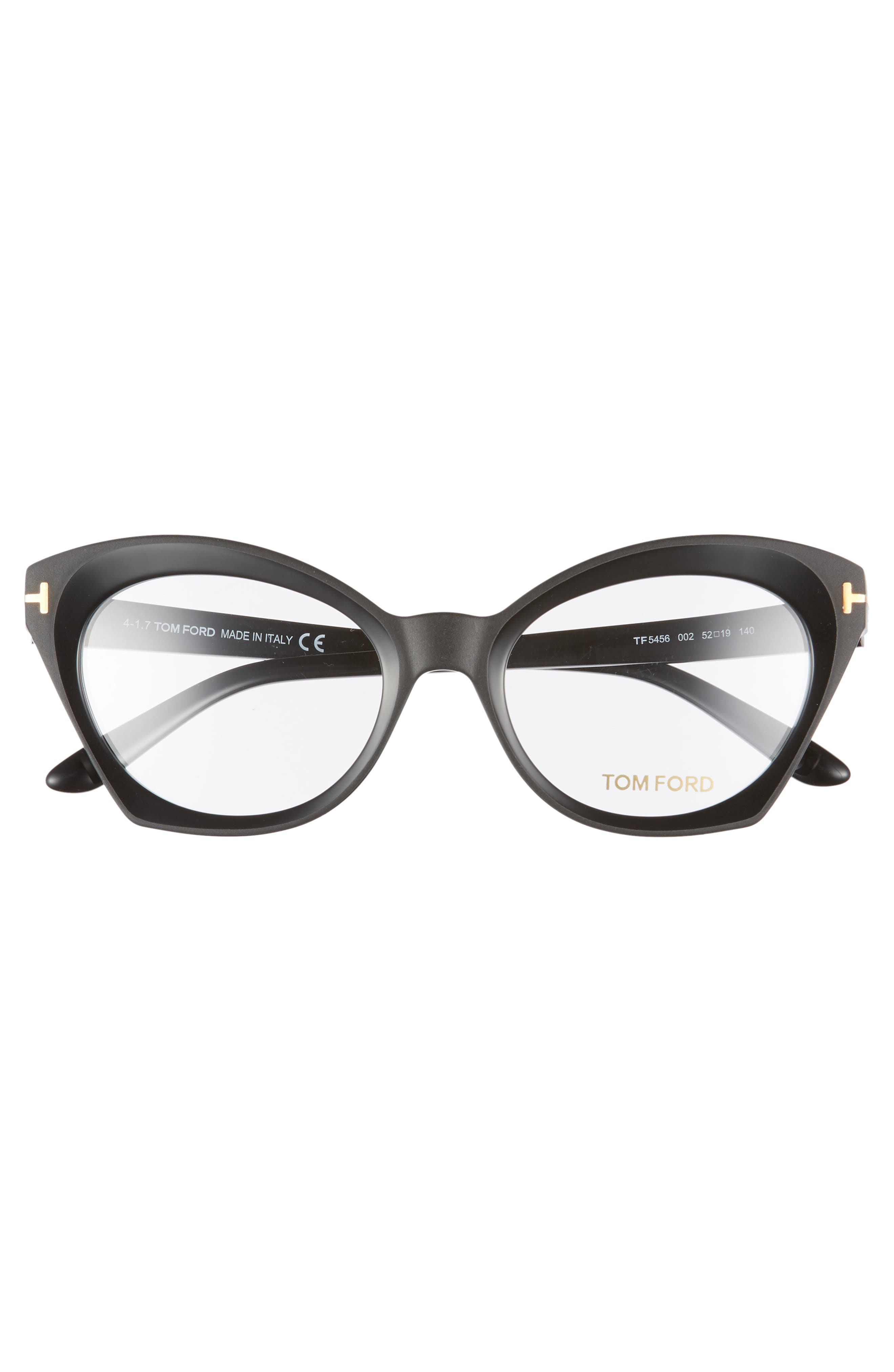 52mm Optical Glasses,                             Alternate thumbnail 3, color,                             SHINY BLACK/ SHINY ROSE GOLD