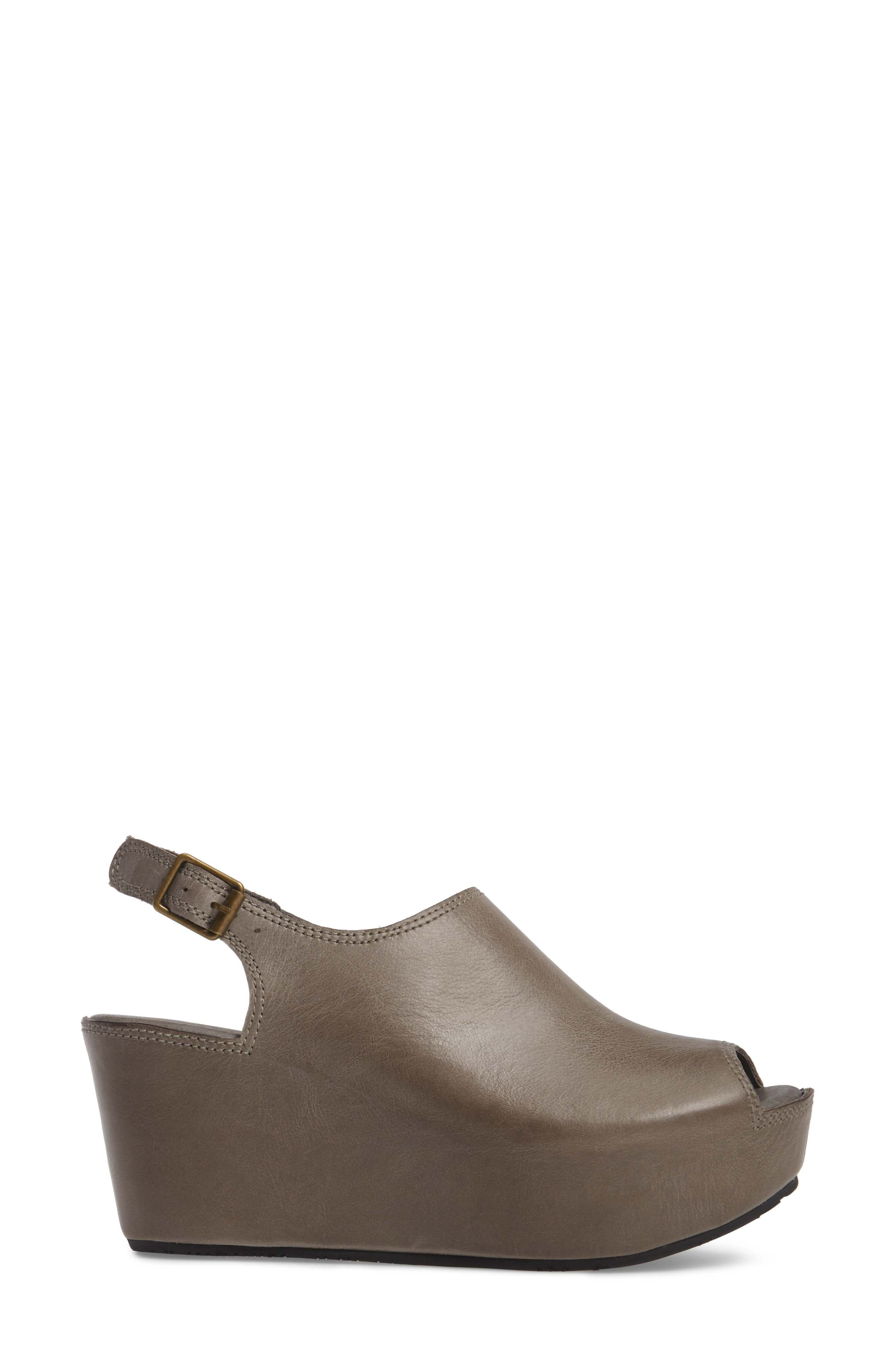 Willow Slingback Wedge,                             Alternate thumbnail 3, color,                             GRAPHITE LEATHER