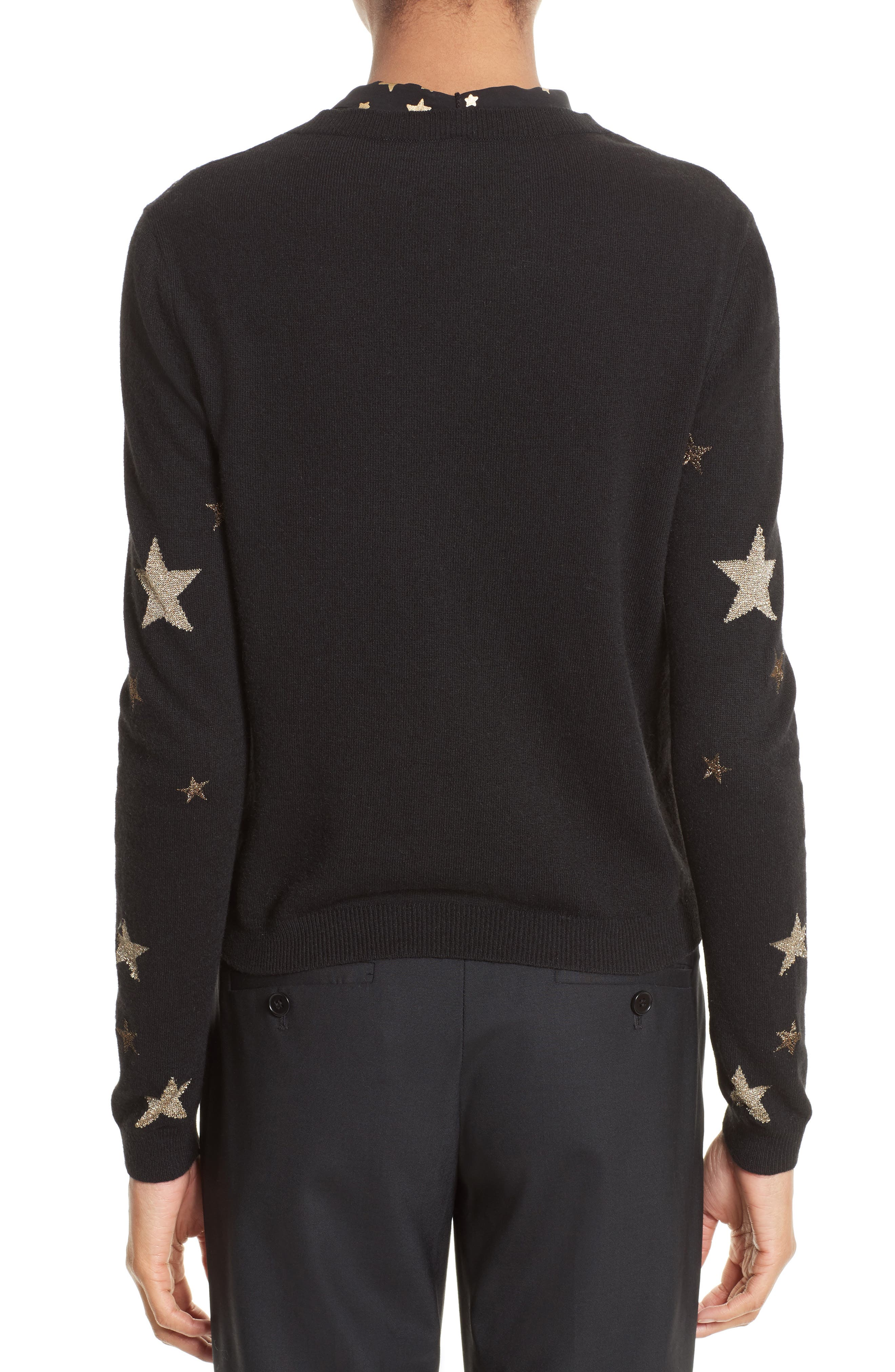 Tie Neck Star Sweater,                             Alternate thumbnail 2, color,                             001