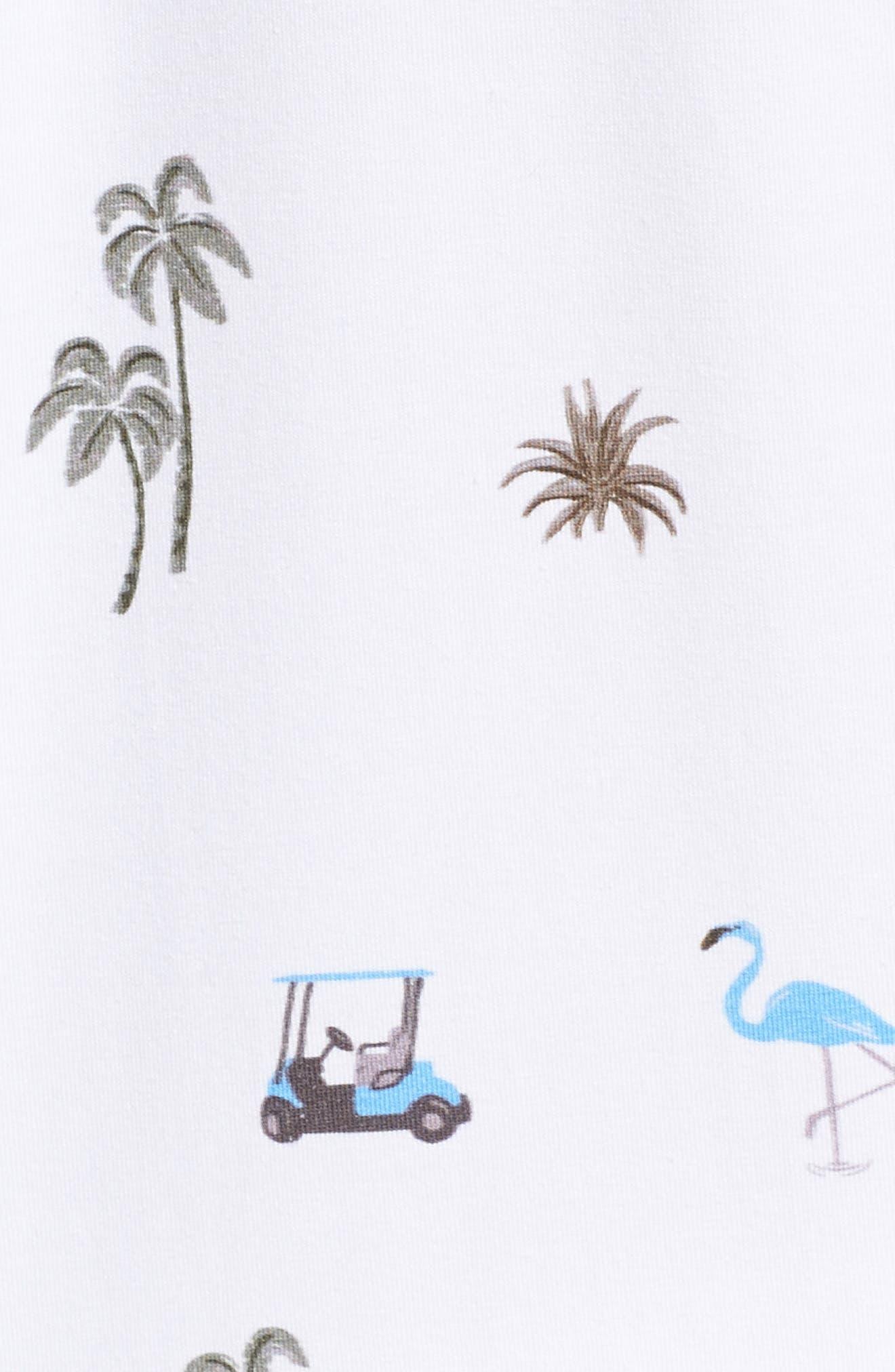 Trim Fit Golf Print Polo,                             Alternate thumbnail 5, color,                             WHITE