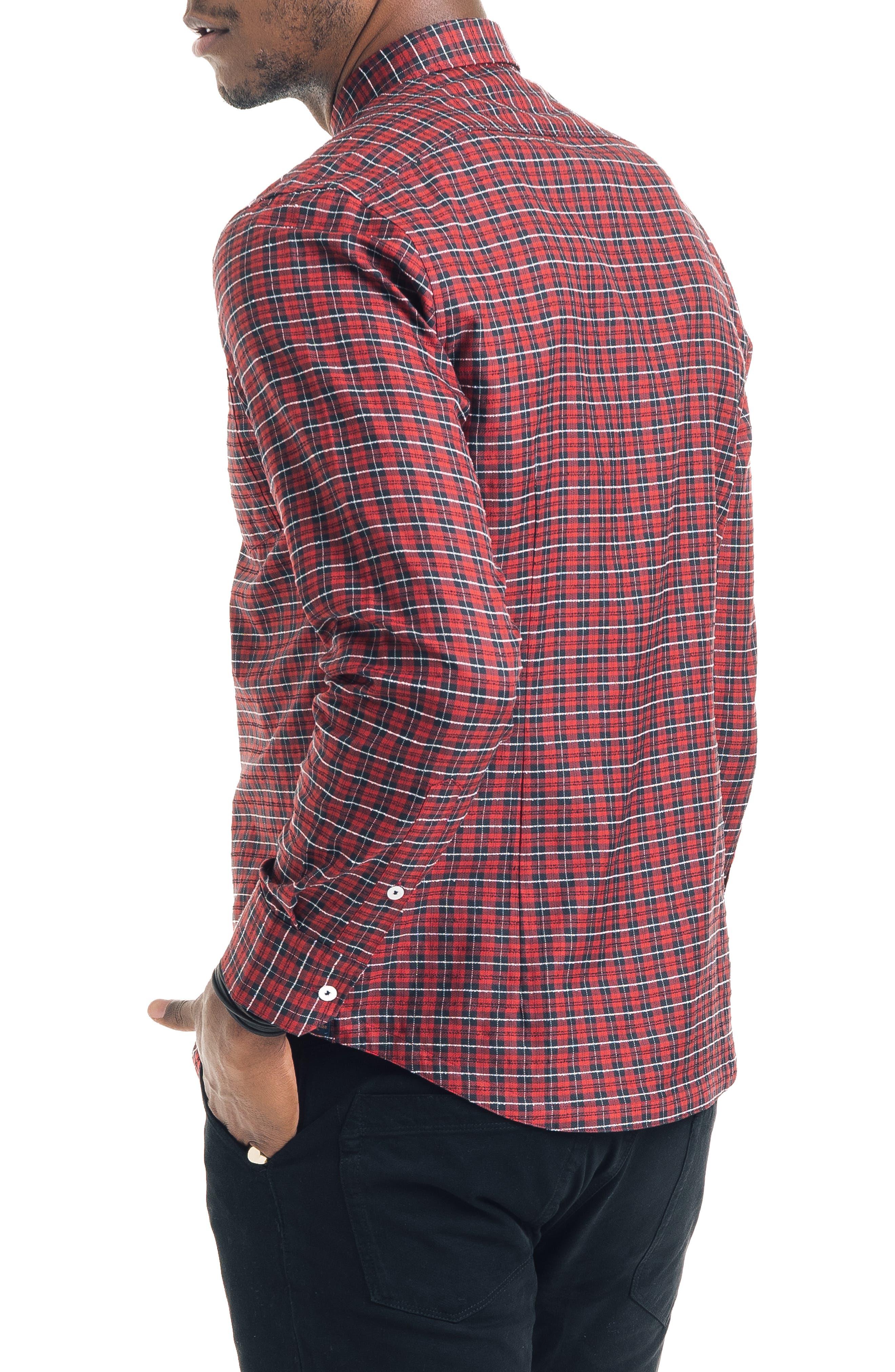 Slim Fit Tartan Plaid Sport Shirt,                             Alternate thumbnail 3, color,                             RED