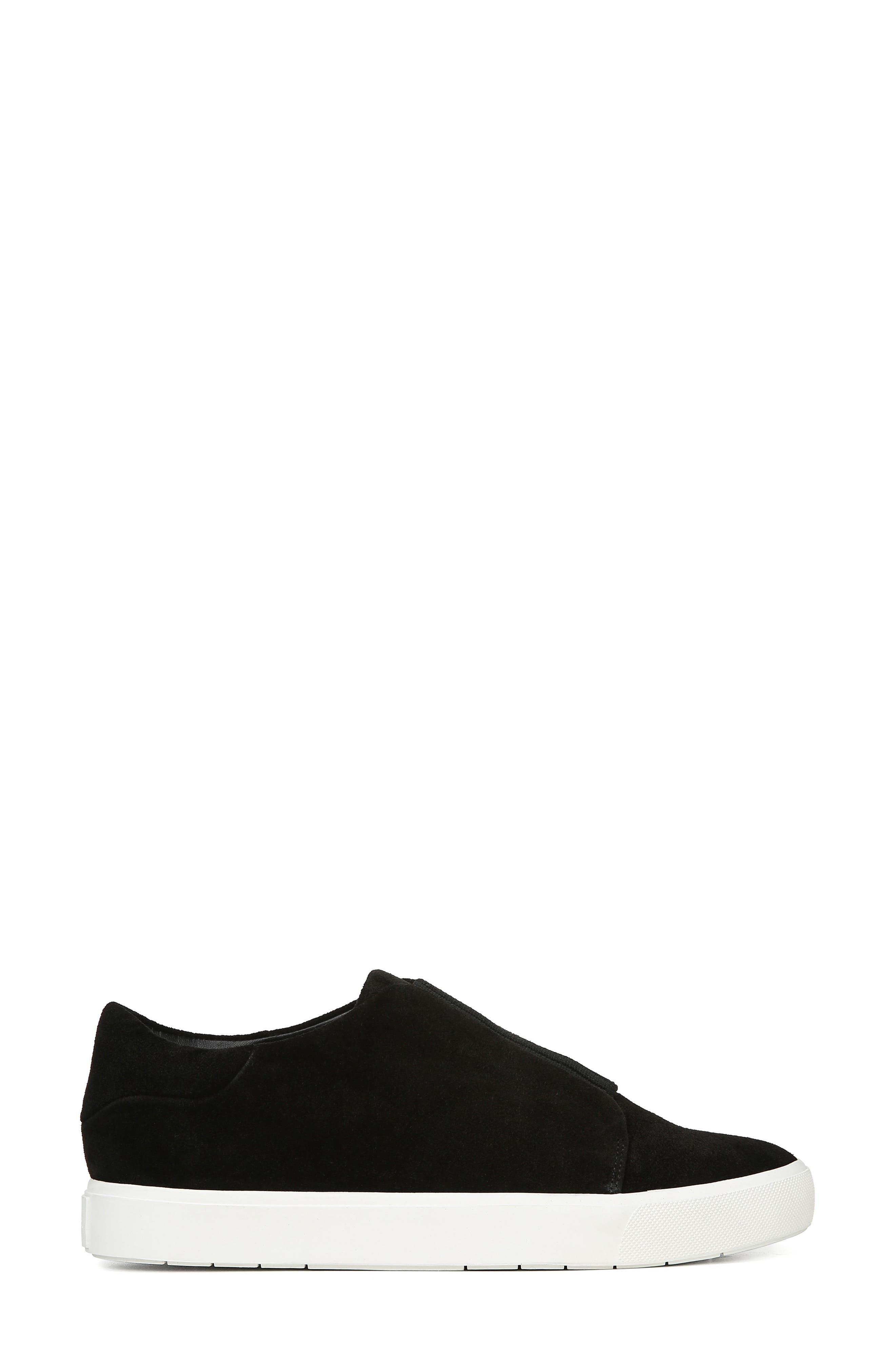 Cantara Slip-On Sneaker,                             Alternate thumbnail 3, color,                             BLACK SUEDE