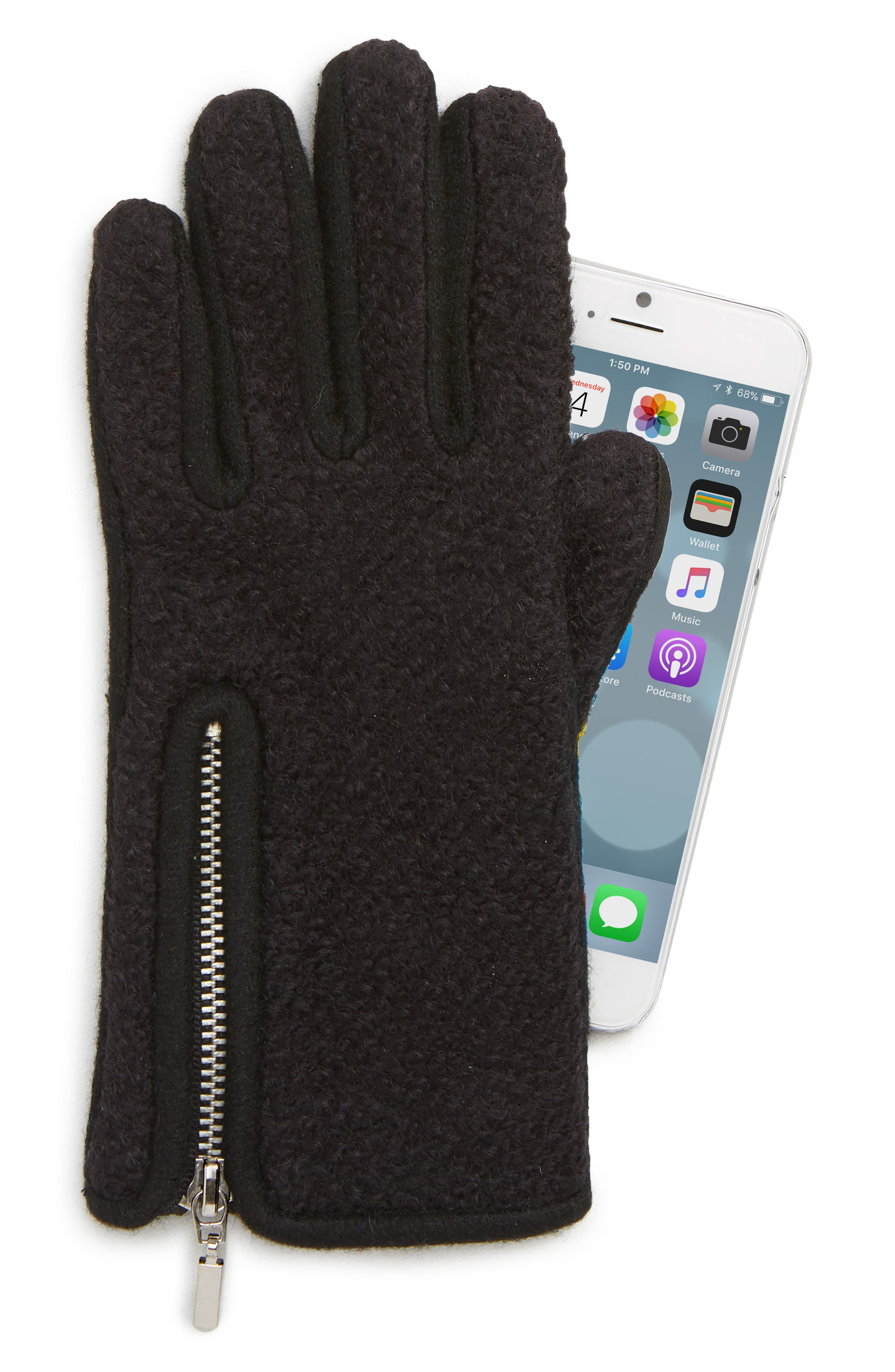 Zip Bouclé Touchscreen Gloves,                             Alternate thumbnail 2, color,                             BLACK
