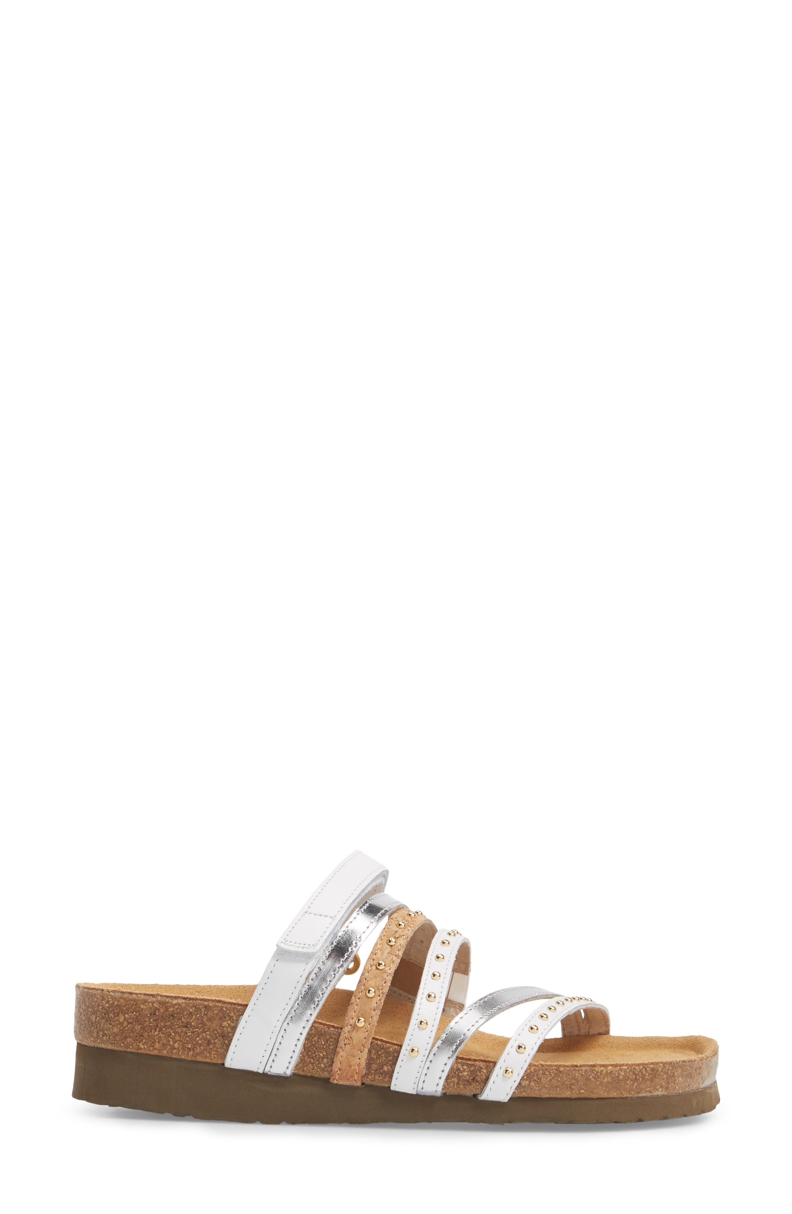Prescott Sandal,                             Alternate thumbnail 3, color,                             WHITE/ SILVER LEATHER
