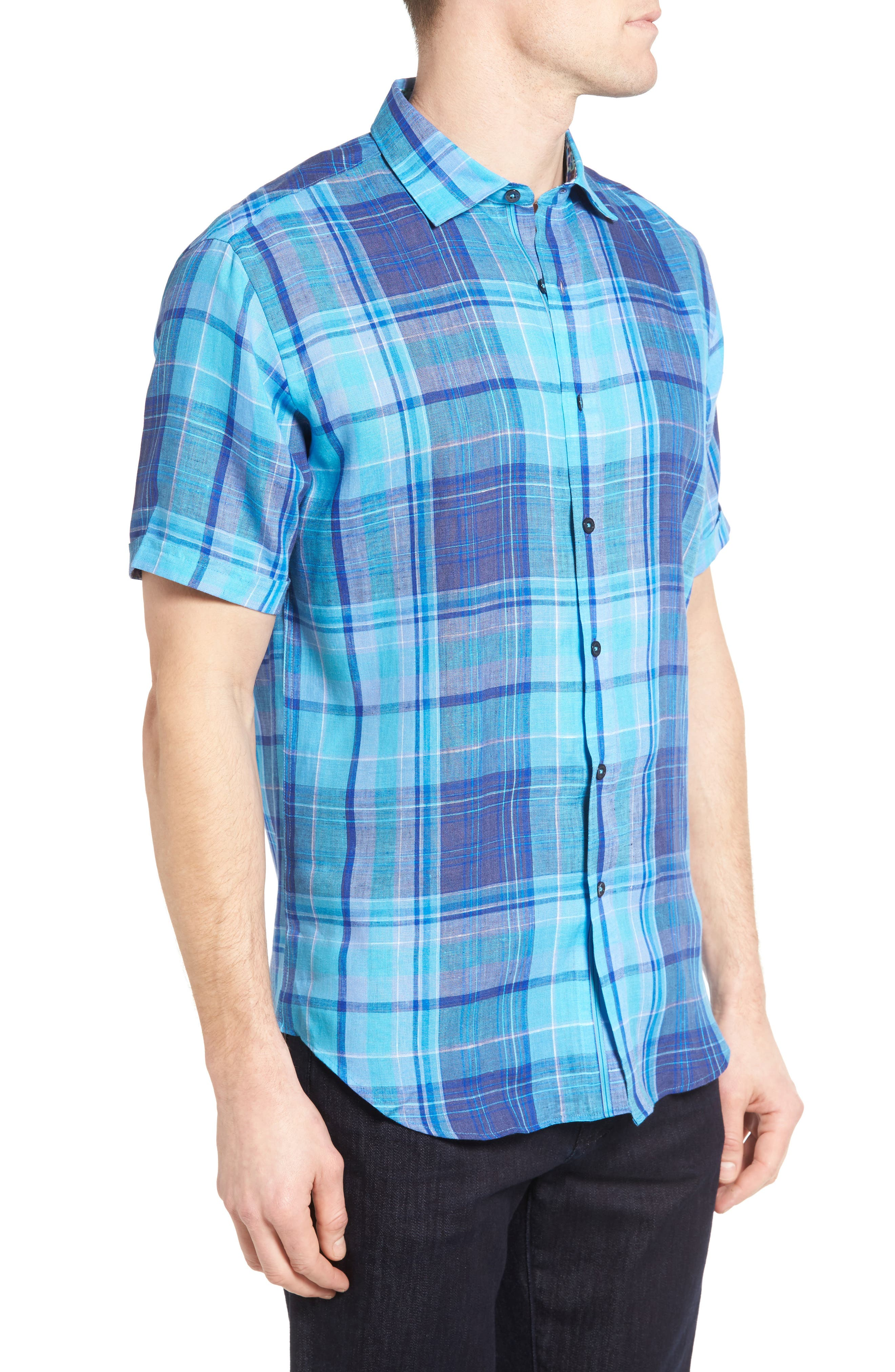 Shaped Fit Linen Sport Shirt,                             Alternate thumbnail 3, color,                             422