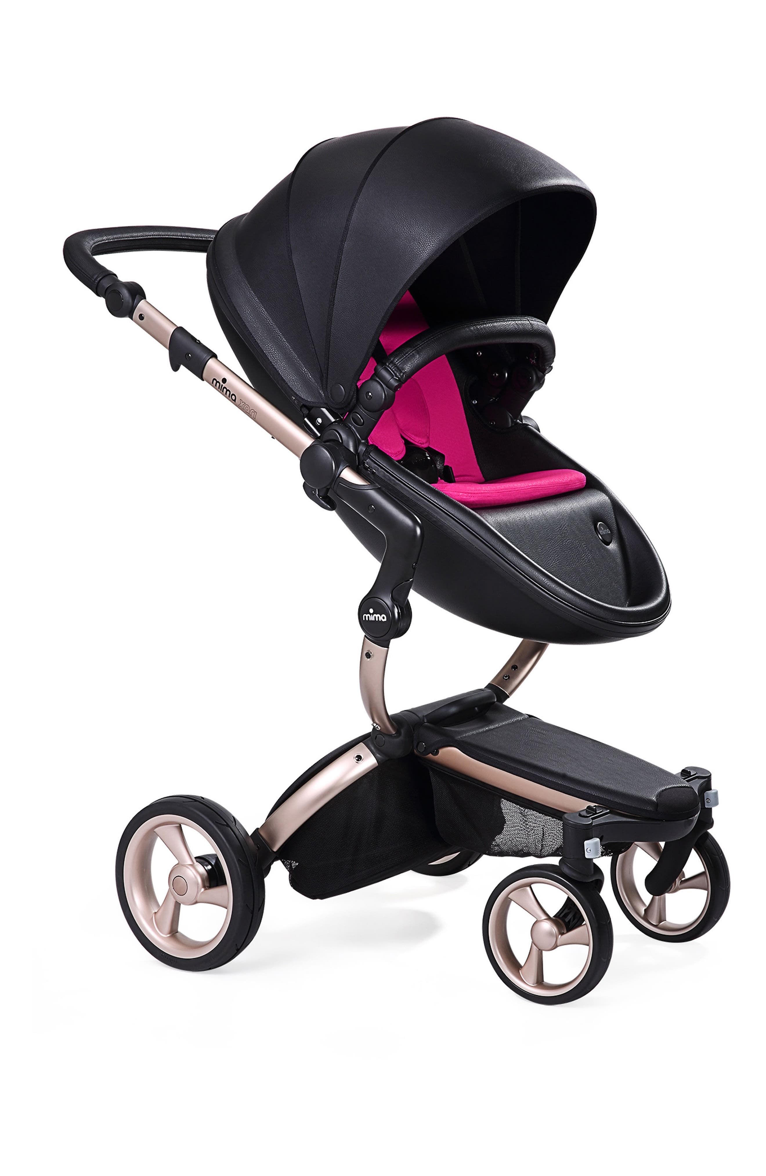Xari Rose Gold Chassis Stroller with Reversible Reclining Seat & Carrycot,                         Main,                         color, BLACK/ HOT MAGENTA