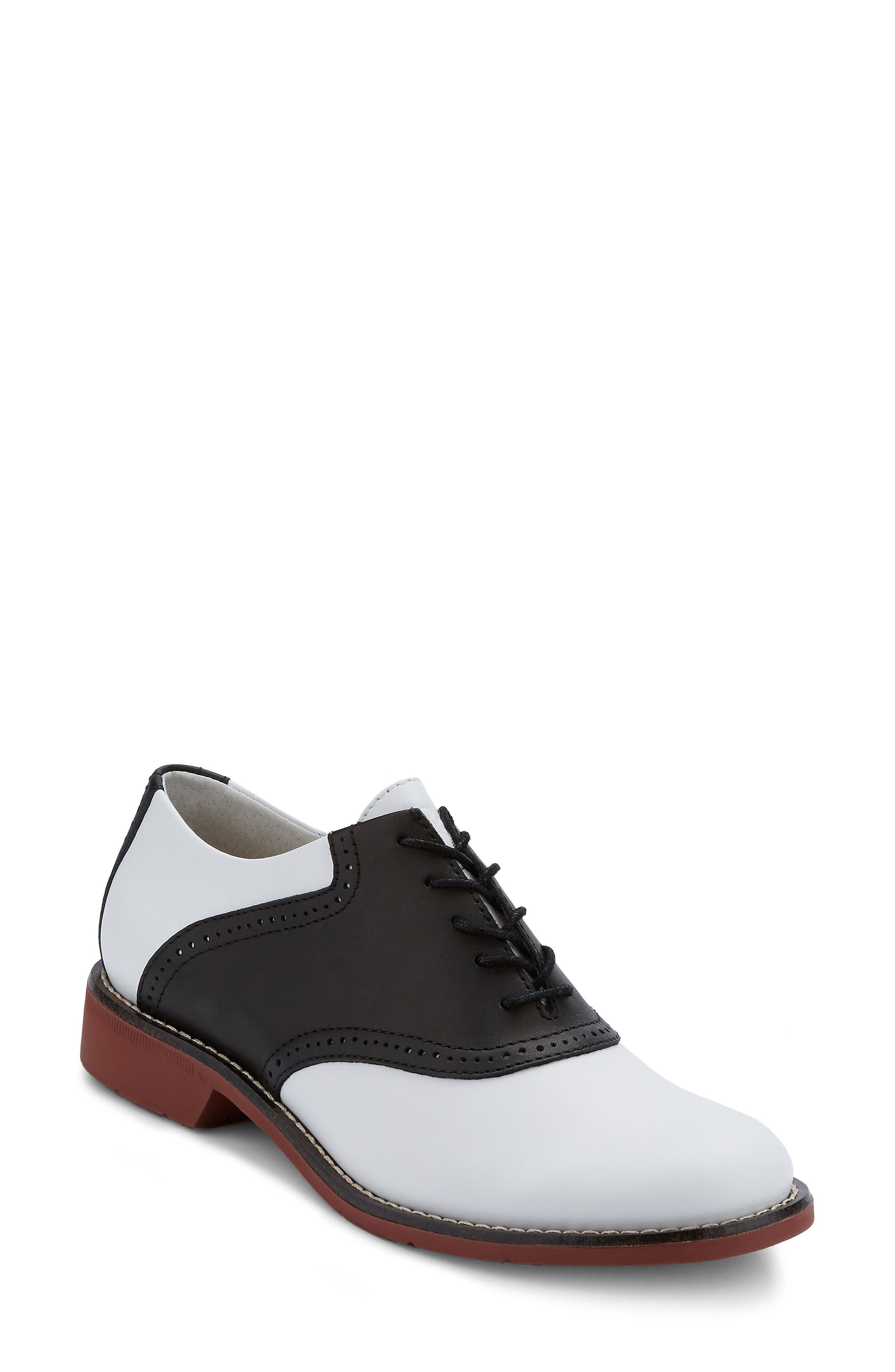 G.H. Bass and Co. Dora Lace-Up Oxford,                             Main thumbnail 1, color,                             BLACK/ WHITE LEATHER