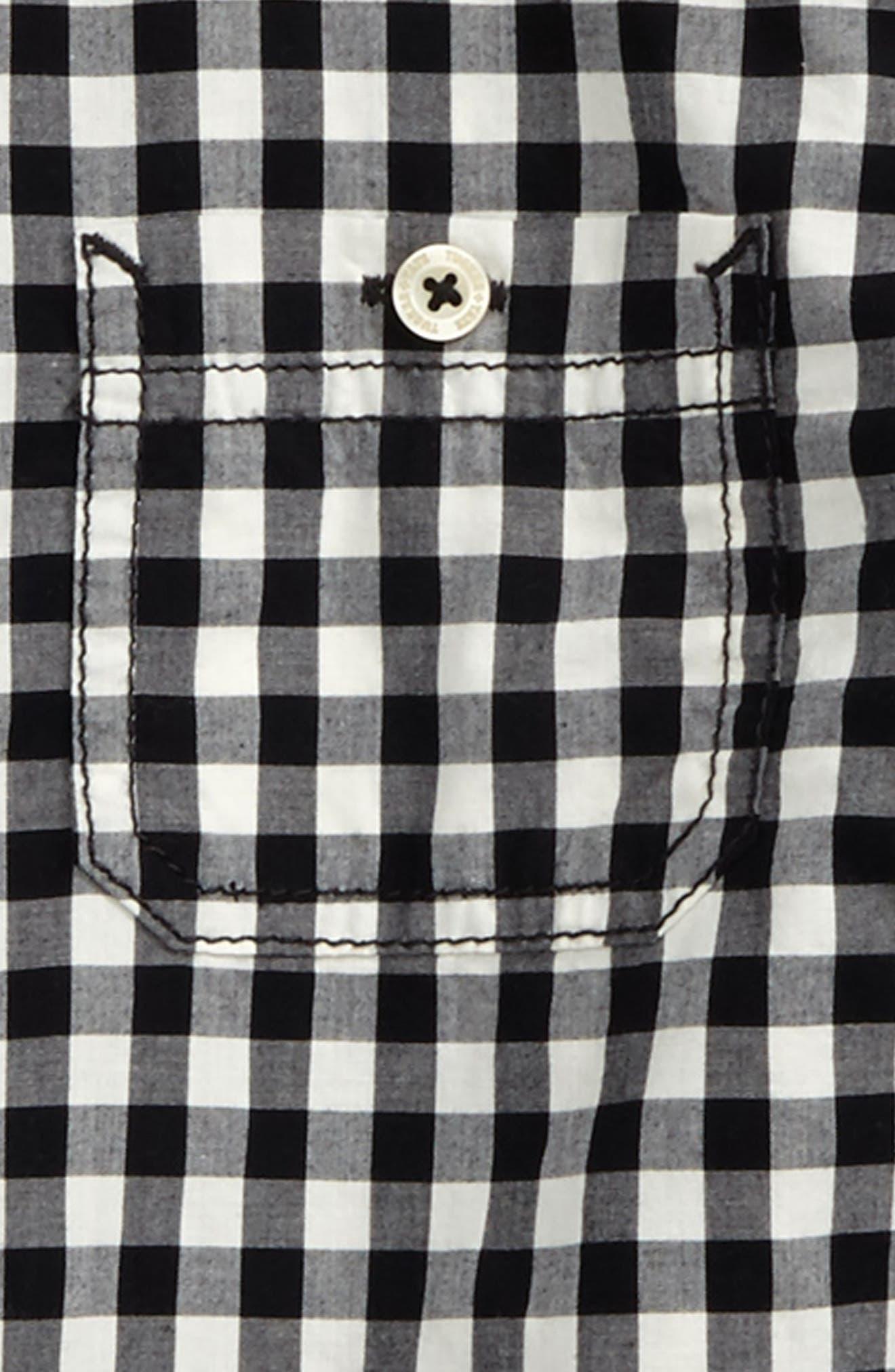 'Photo' Buffalo Plaid Woven Shirt,                             Alternate thumbnail 2, color,                             BLACK- IVORY GINGHAM