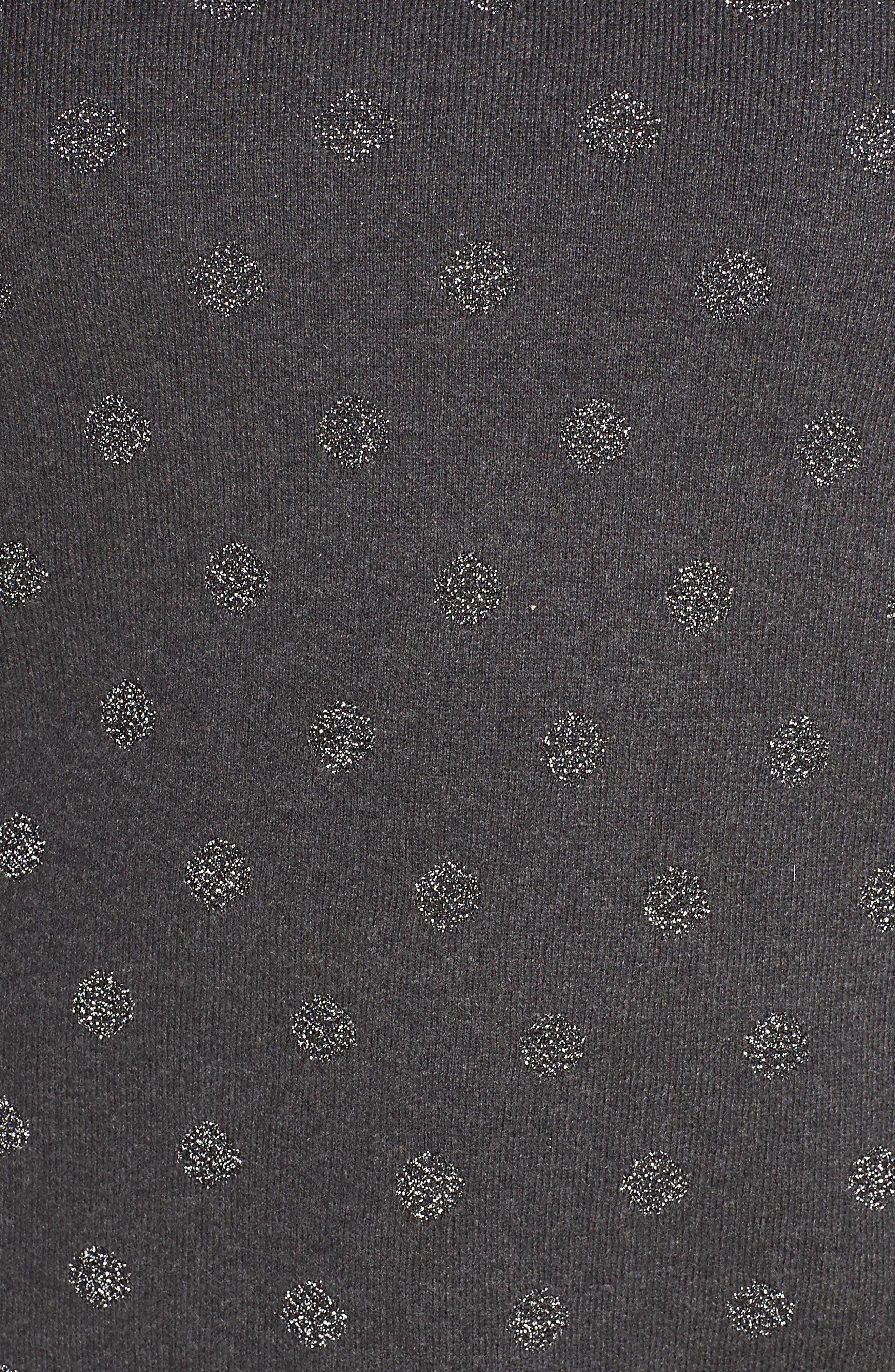 Metalic Dot Pullover,                             Alternate thumbnail 5, color,                             GREY DARK CHARCOAL HEATHER