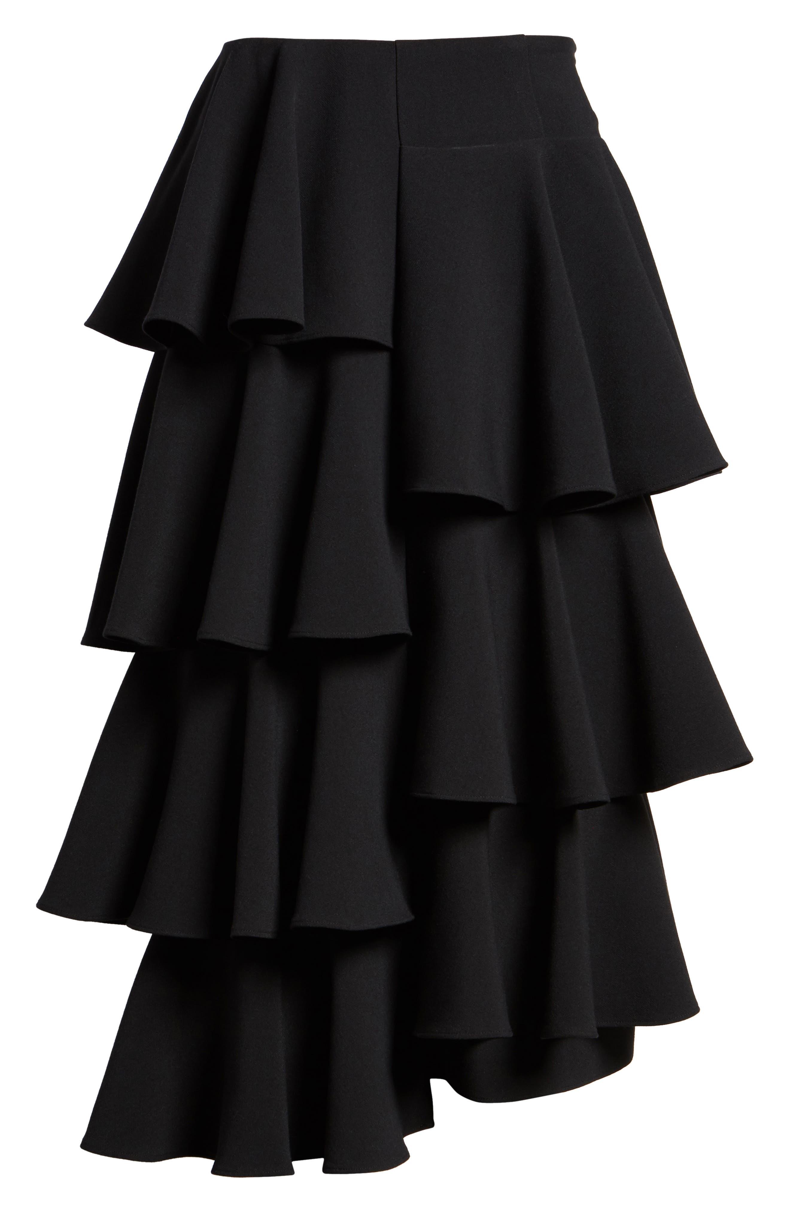 Tiered Ruffle Midi Skirt,                             Alternate thumbnail 6, color,                             001