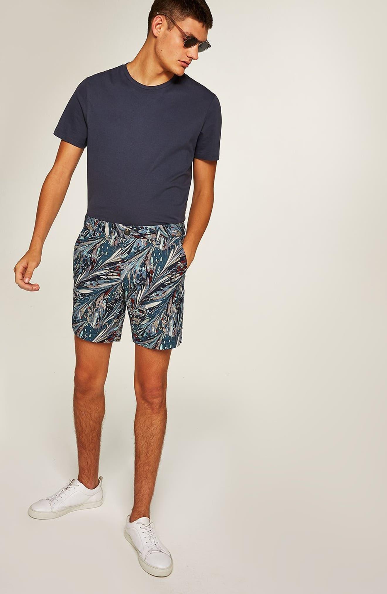 Marble Print Shorts,                             Alternate thumbnail 3, color,                             BLUE