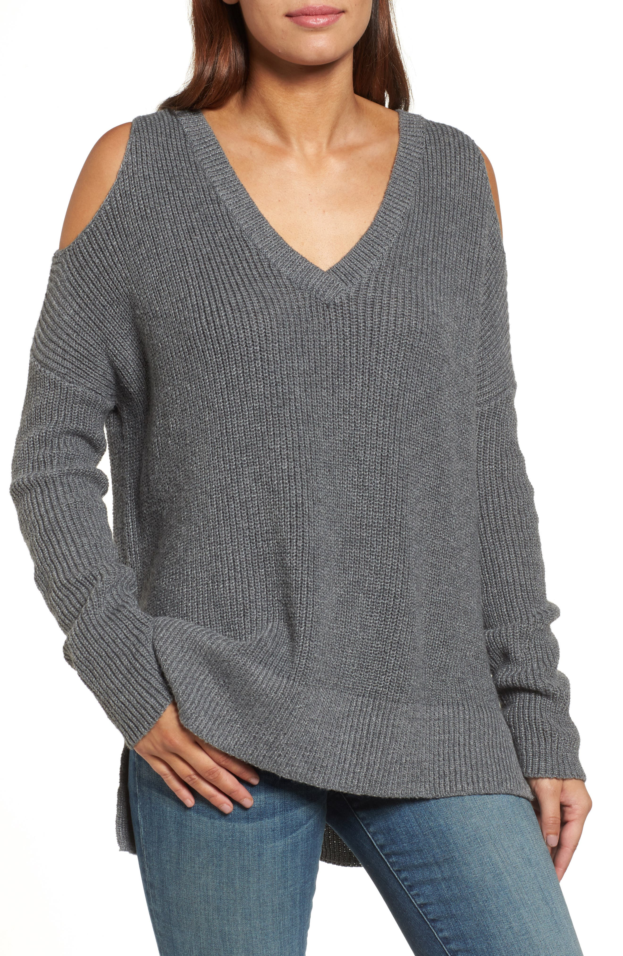 Cold Shoulder Tunic Sweater,                             Main thumbnail 1, color,                             020