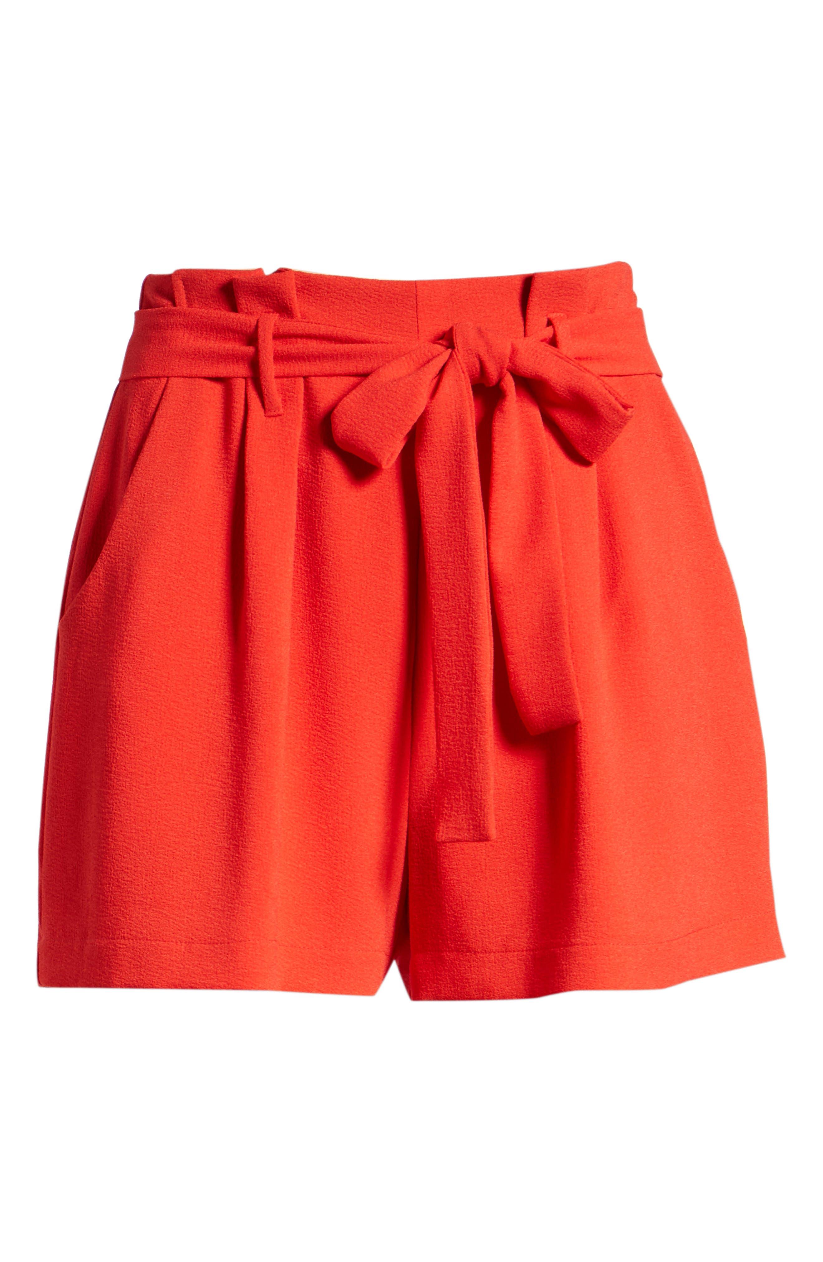 Tie Waist Shorts,                             Alternate thumbnail 6, color,                             RED LIPSTICK