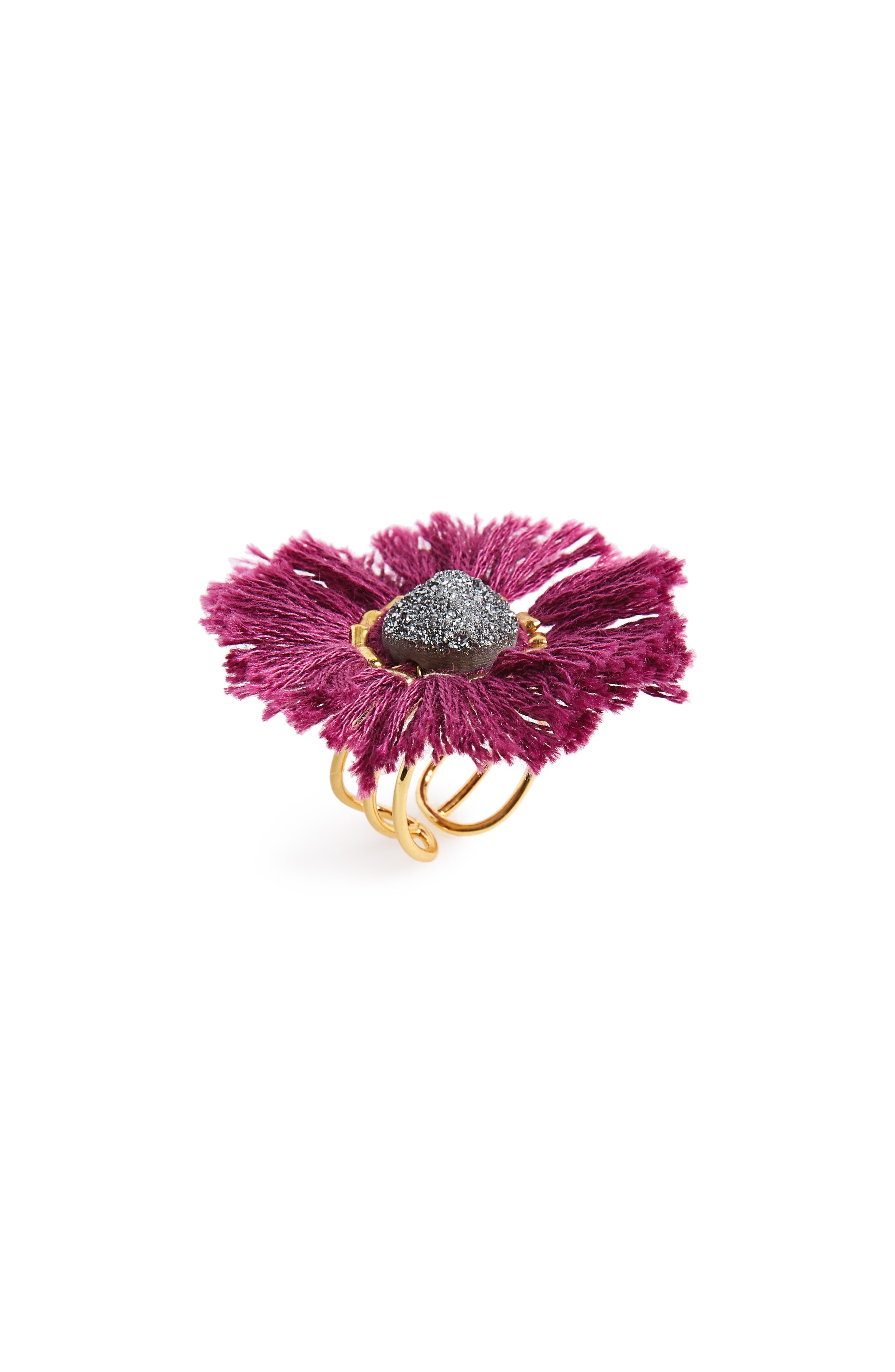 Drusy & Fringe Ring,                         Main,                         color, 650