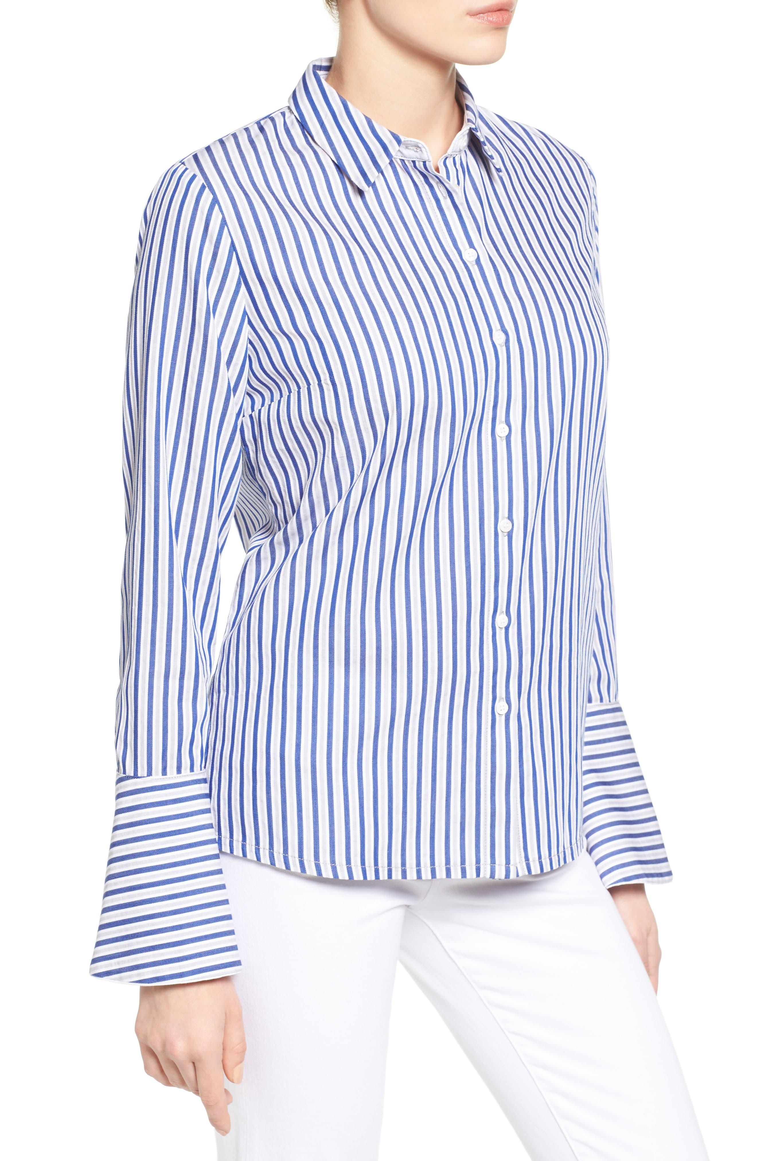 Luz Stripe Bell Cuff Shirt,                             Alternate thumbnail 3, color,                             494