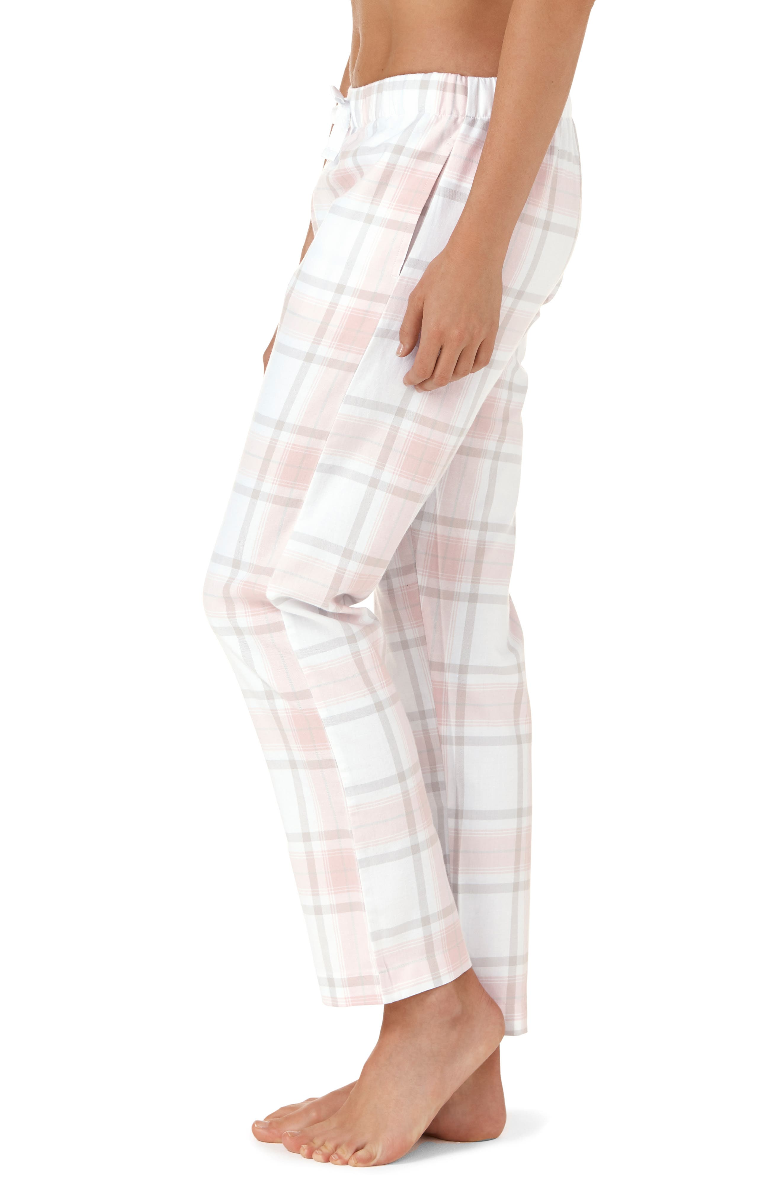 Check Pajama Bottoms,                             Alternate thumbnail 3, color,                             GREY / PINK CHECK