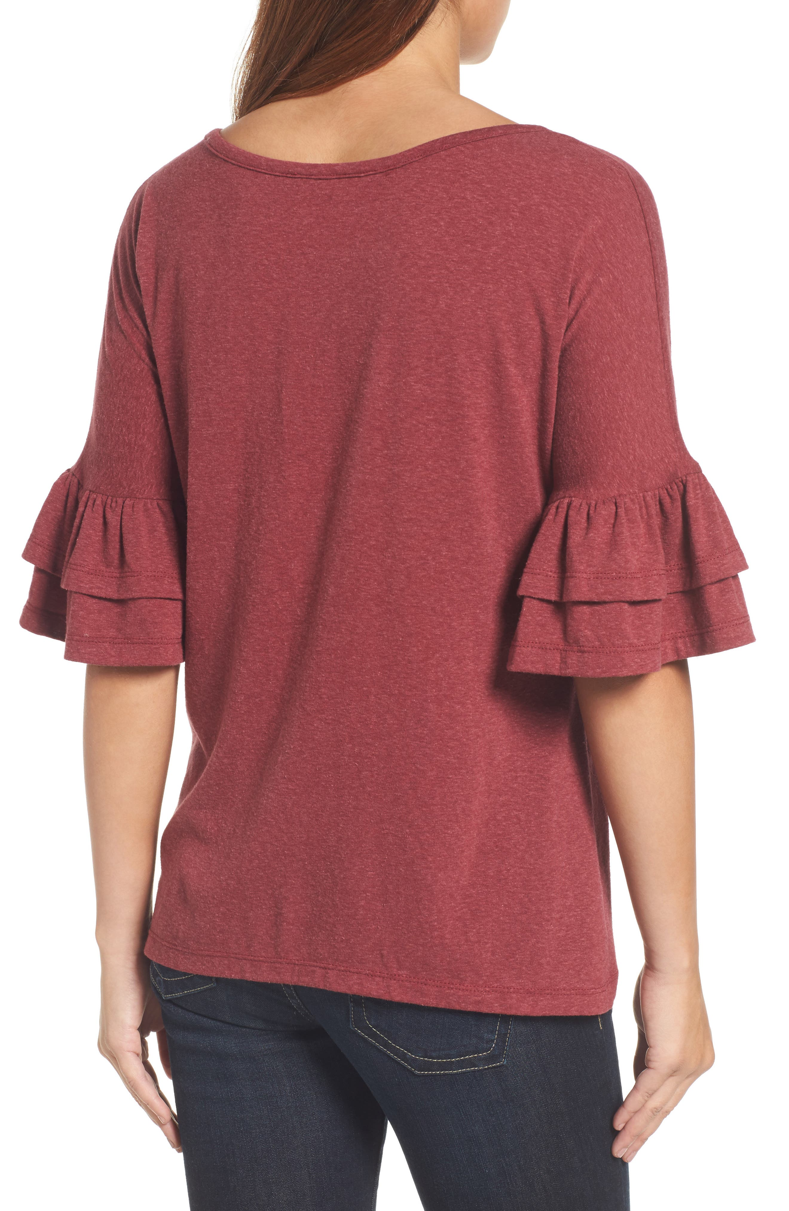 Tiered Bell Sleeve Tee,                             Alternate thumbnail 9, color,