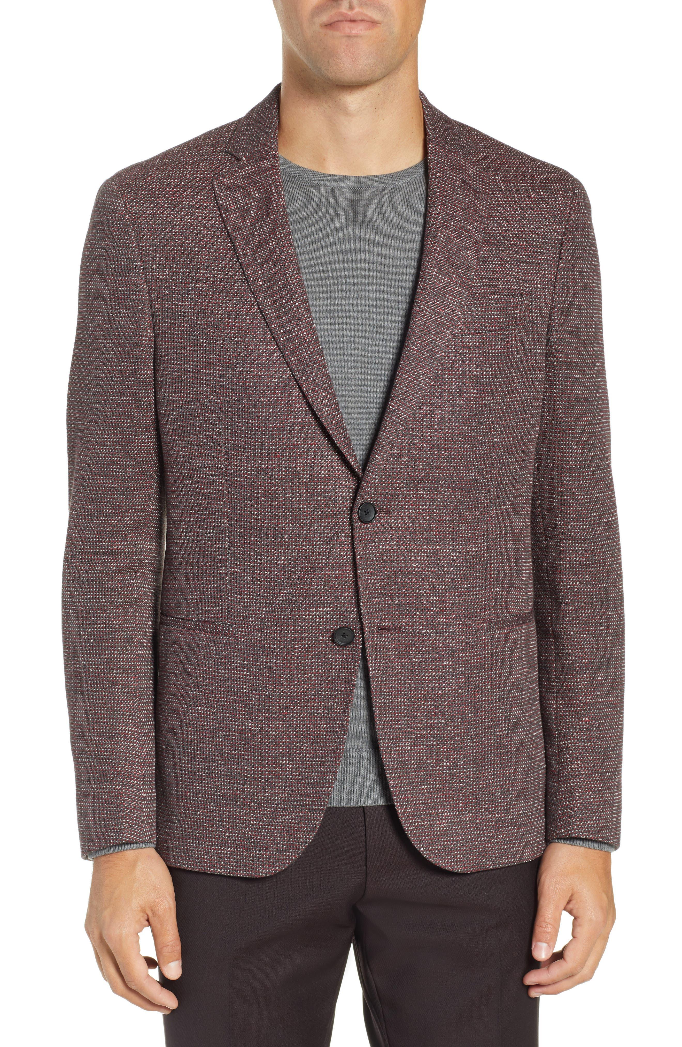 Norwin Trim Fit Cotton Blend Sport Coat, Main, color, DARK RED