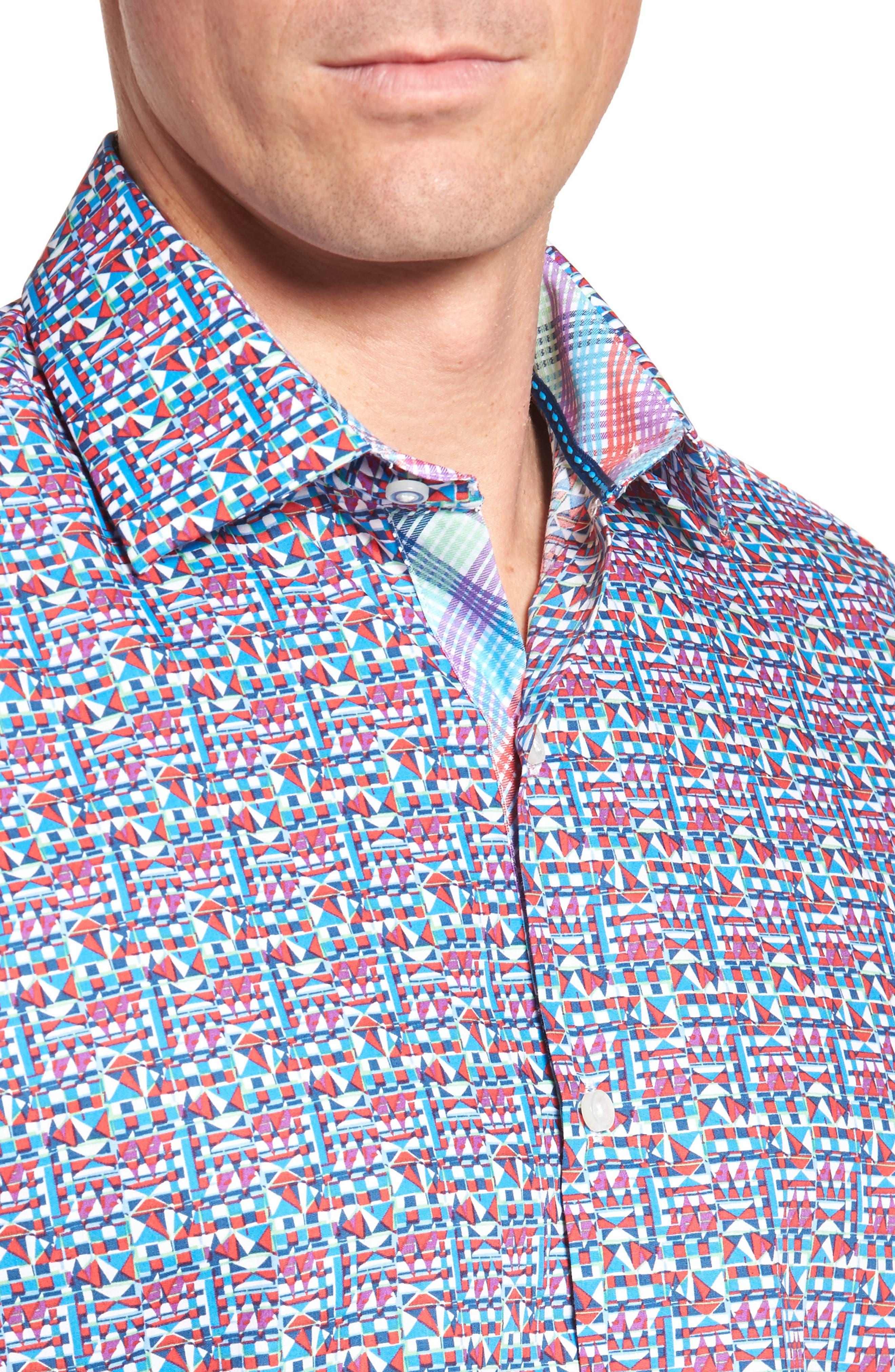 Maurice Print Sport Shirt,                             Alternate thumbnail 4, color,                             950