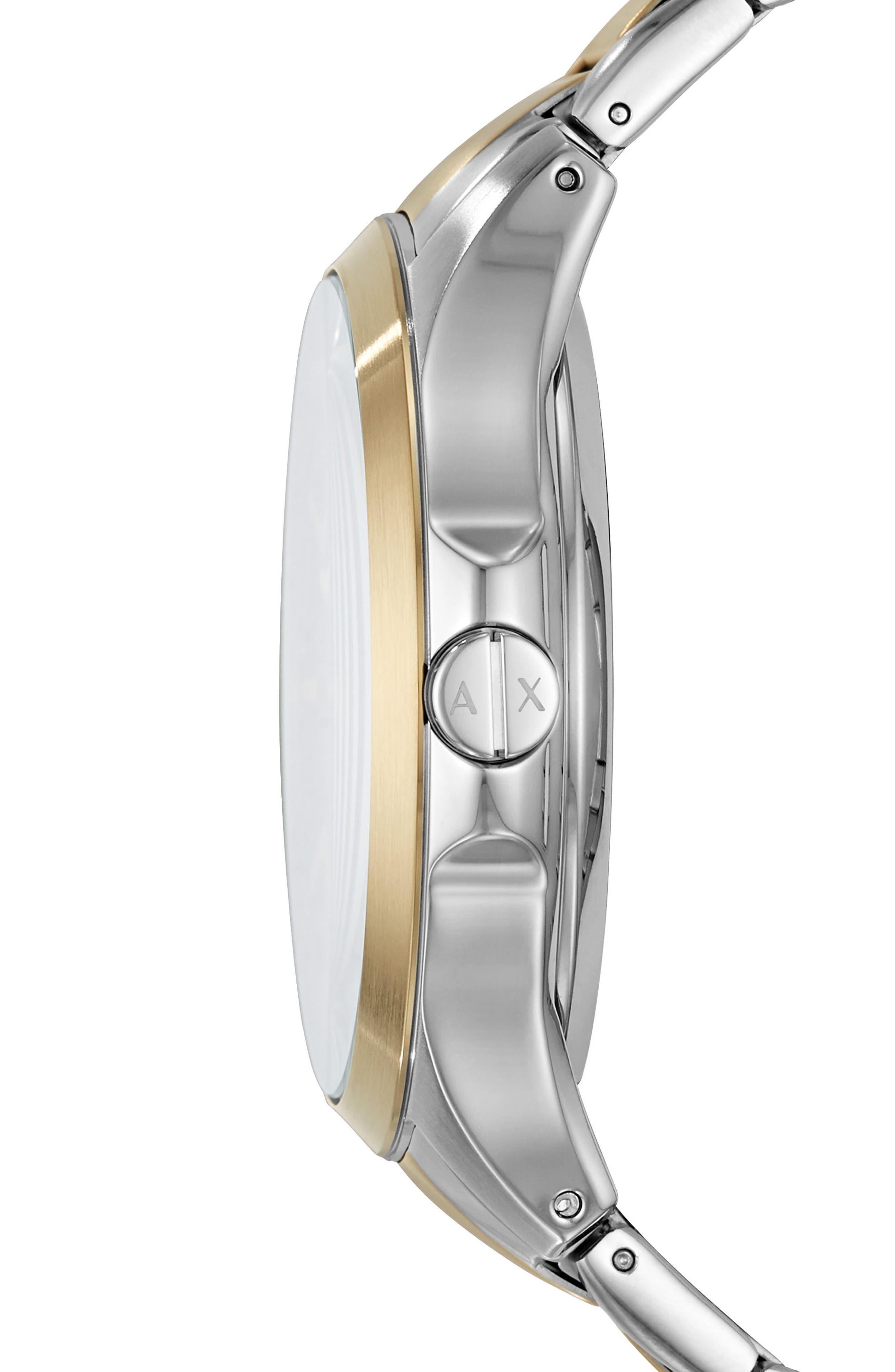 Two-Tone Bracelet Watch, 46mm,                             Alternate thumbnail 2, color,                             GUNMETAL/ STEEL/ GOLD