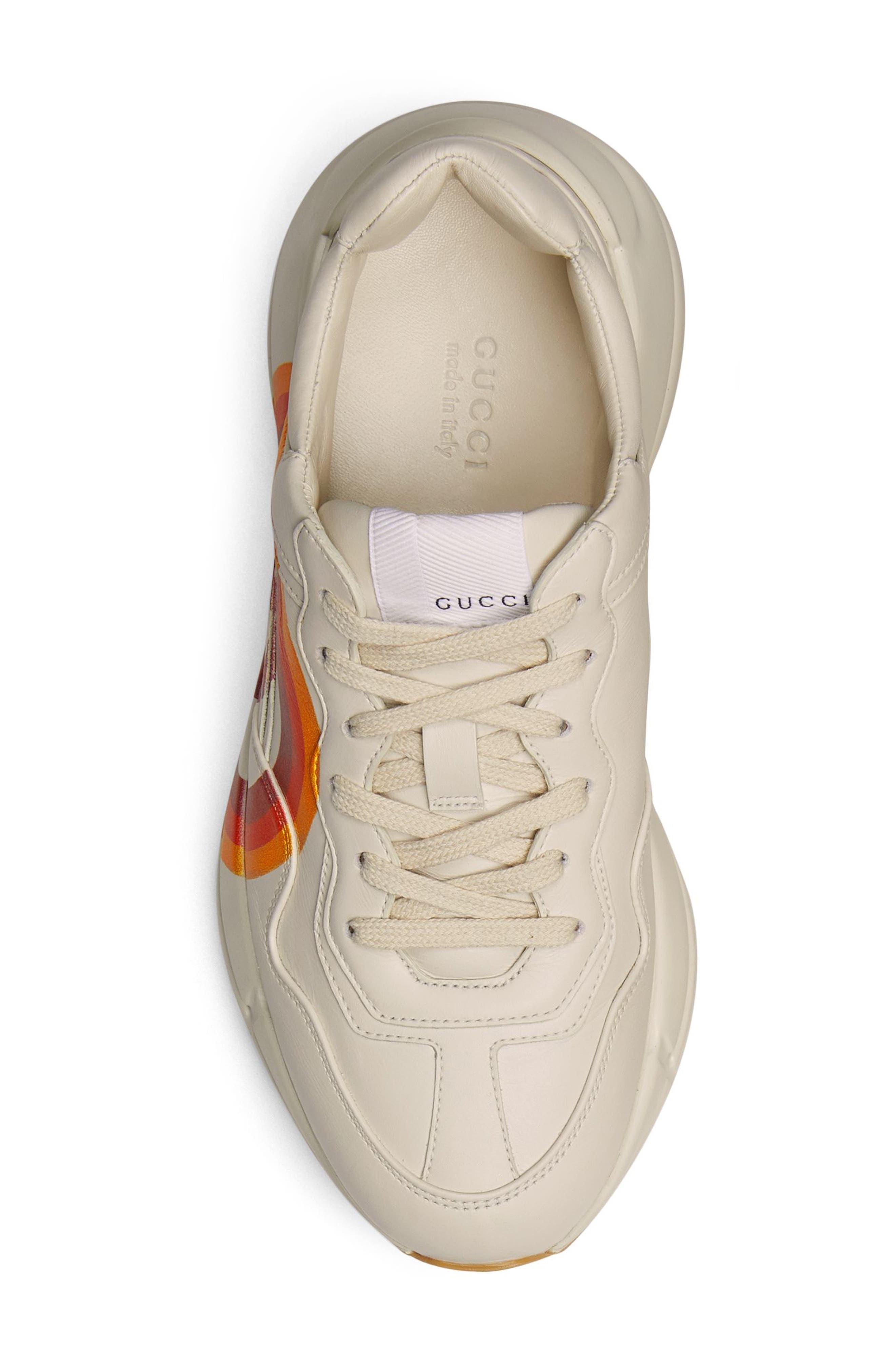 Rhyton Double G Sneaker,                             Alternate thumbnail 4, color,                             MYSTIC WHITE