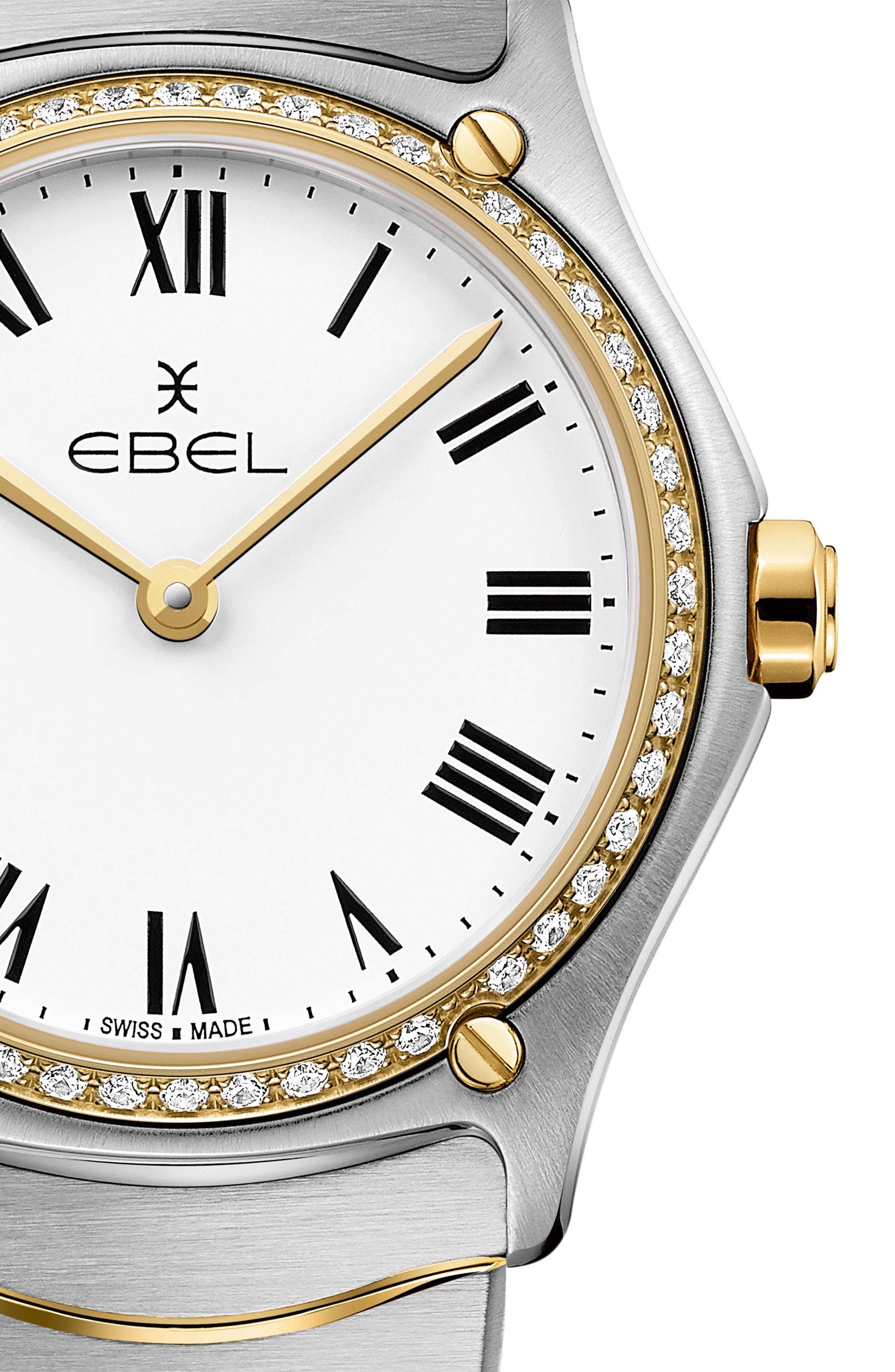 Sport Classic Diamond Bracelet Watch, 29mm,                             Alternate thumbnail 4, color,                             SILVER/ WHITE/ GOLD