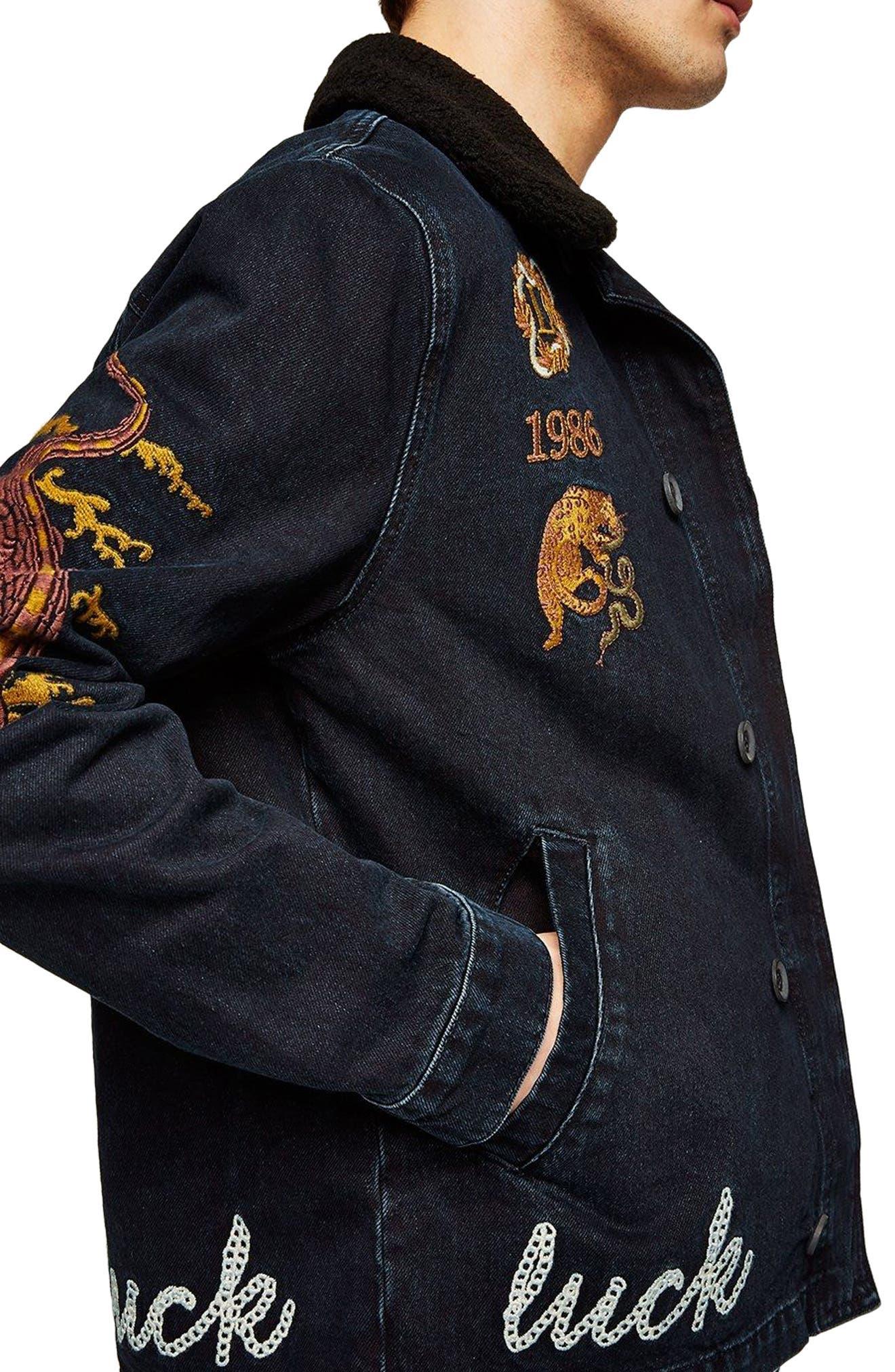 Decadent Embroidered Denim Jacket,                             Alternate thumbnail 3, color,