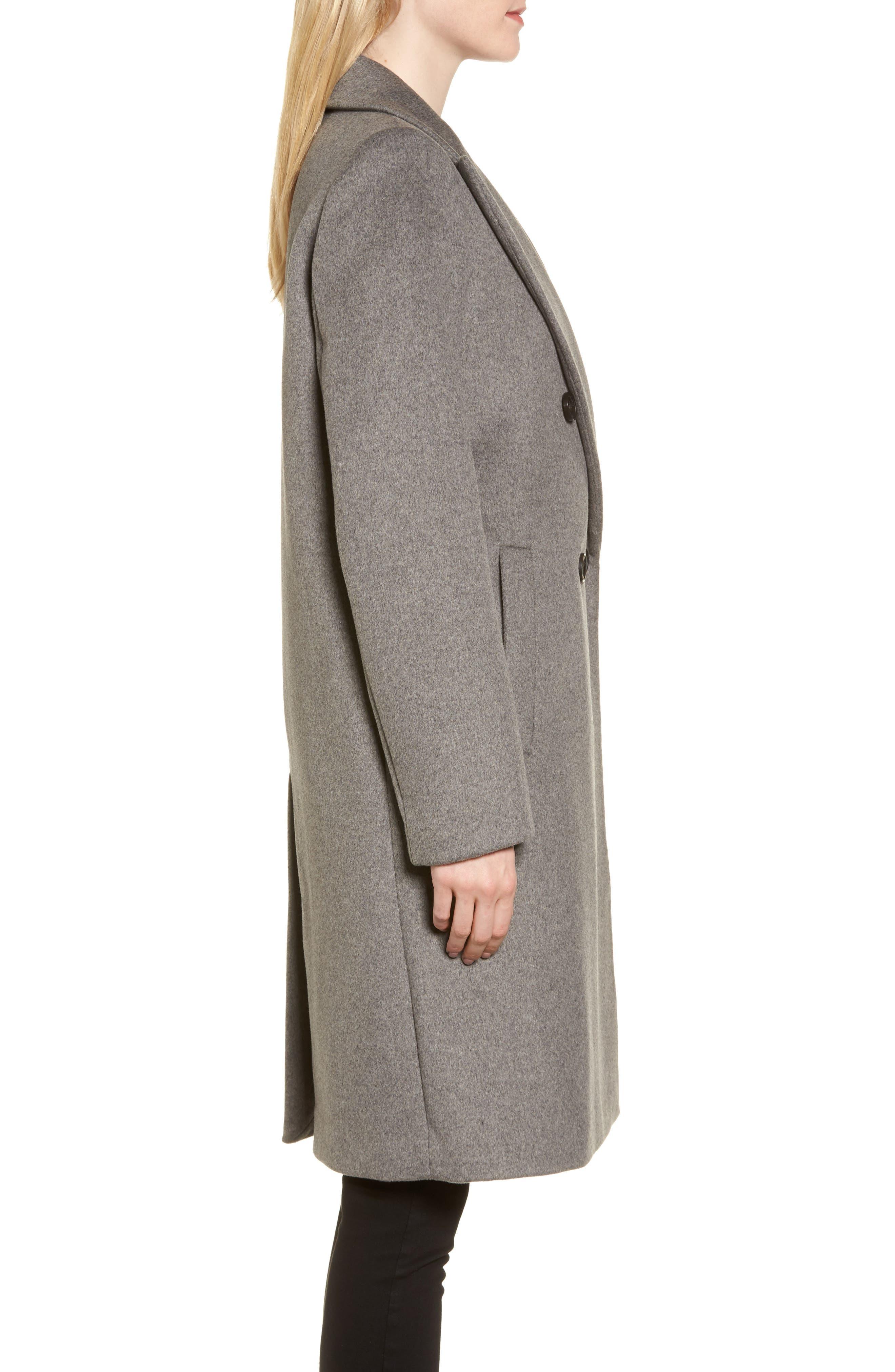 DKNY Lavish Wool Blend Coat,                             Alternate thumbnail 6, color,