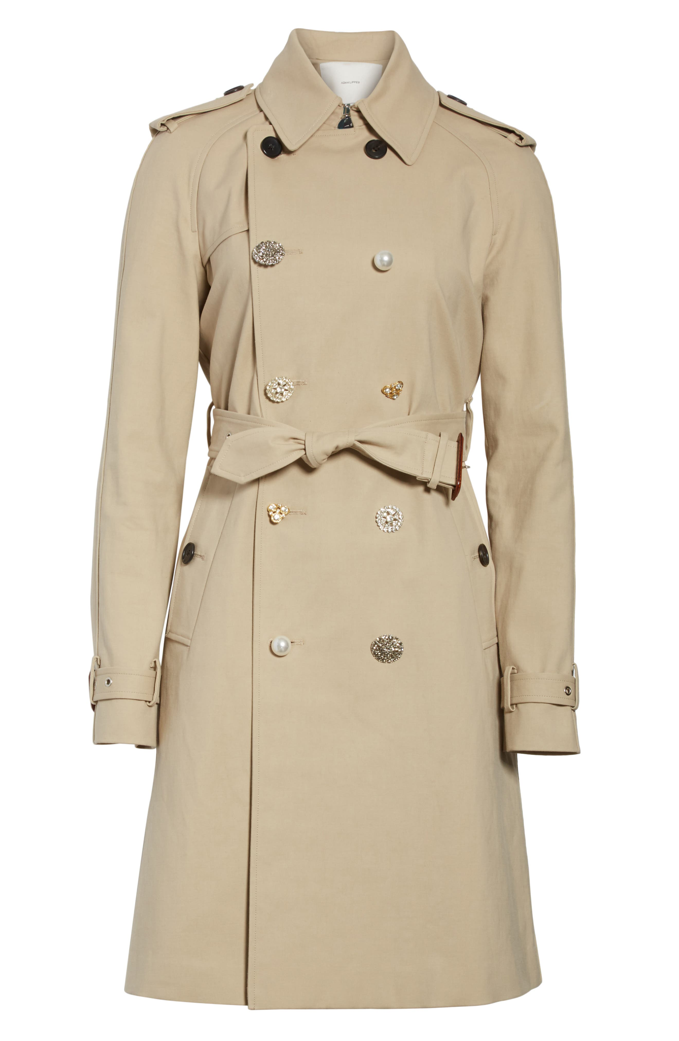 Embellished Button Trench Coat,                             Alternate thumbnail 5, color,                             250