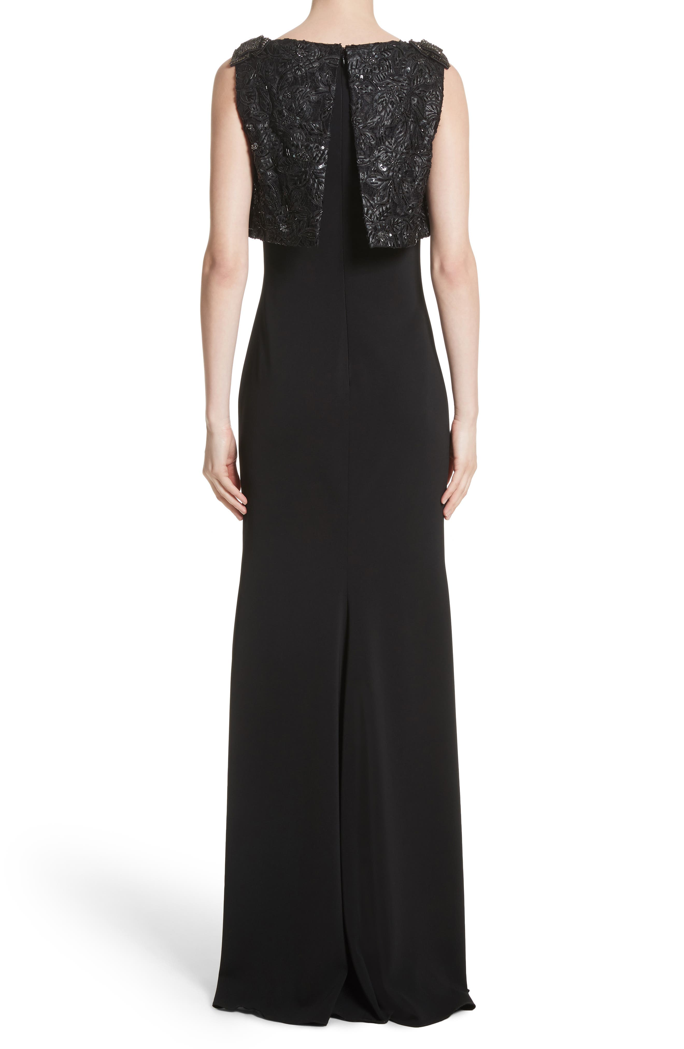Badgley Mischka Couture Embellished Popover Gown,                             Alternate thumbnail 2, color,                             001