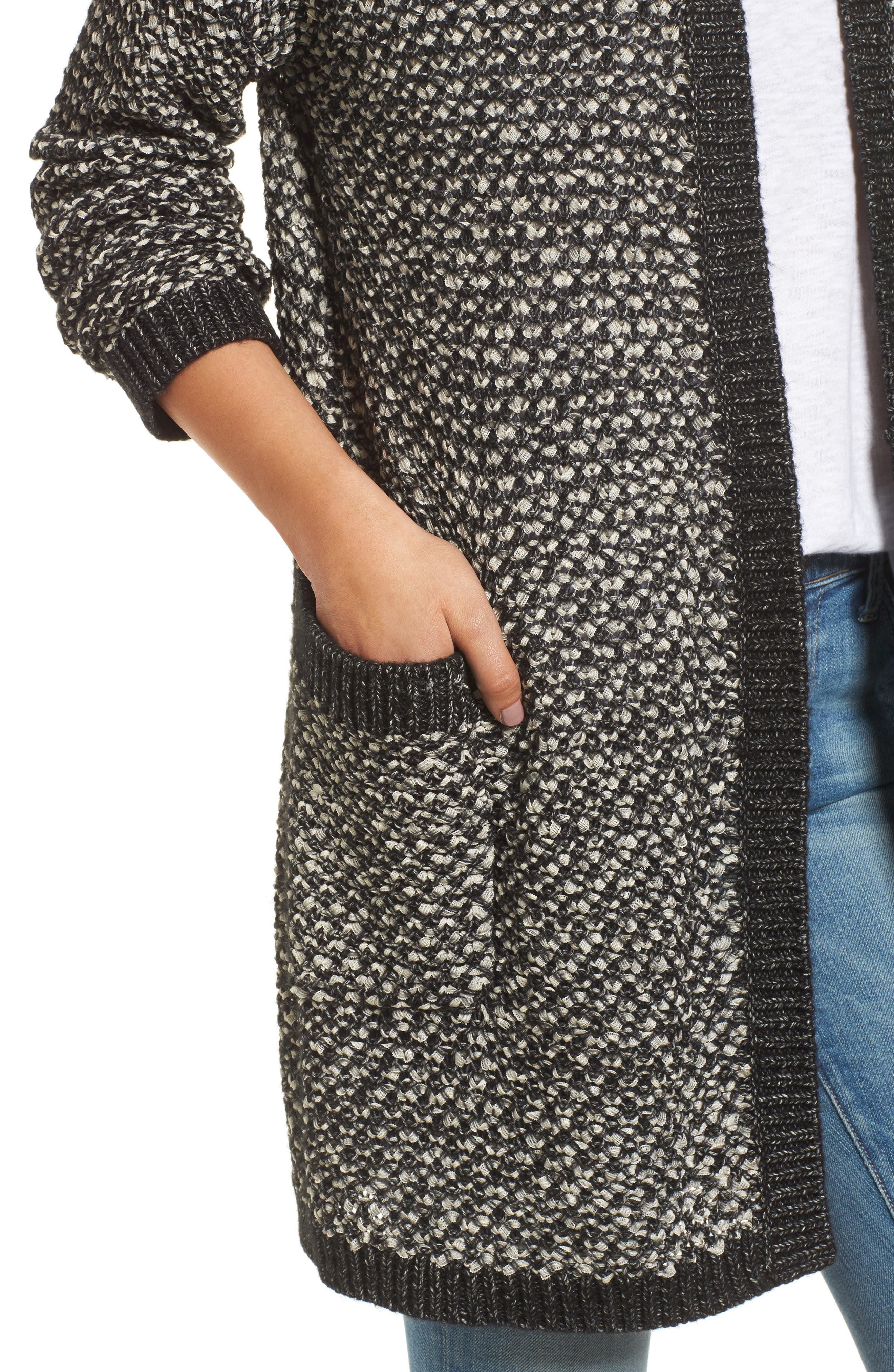 Textured Boyfriend Cardigan,                             Alternate thumbnail 4, color,                             BLACK- IVORY PATTERN