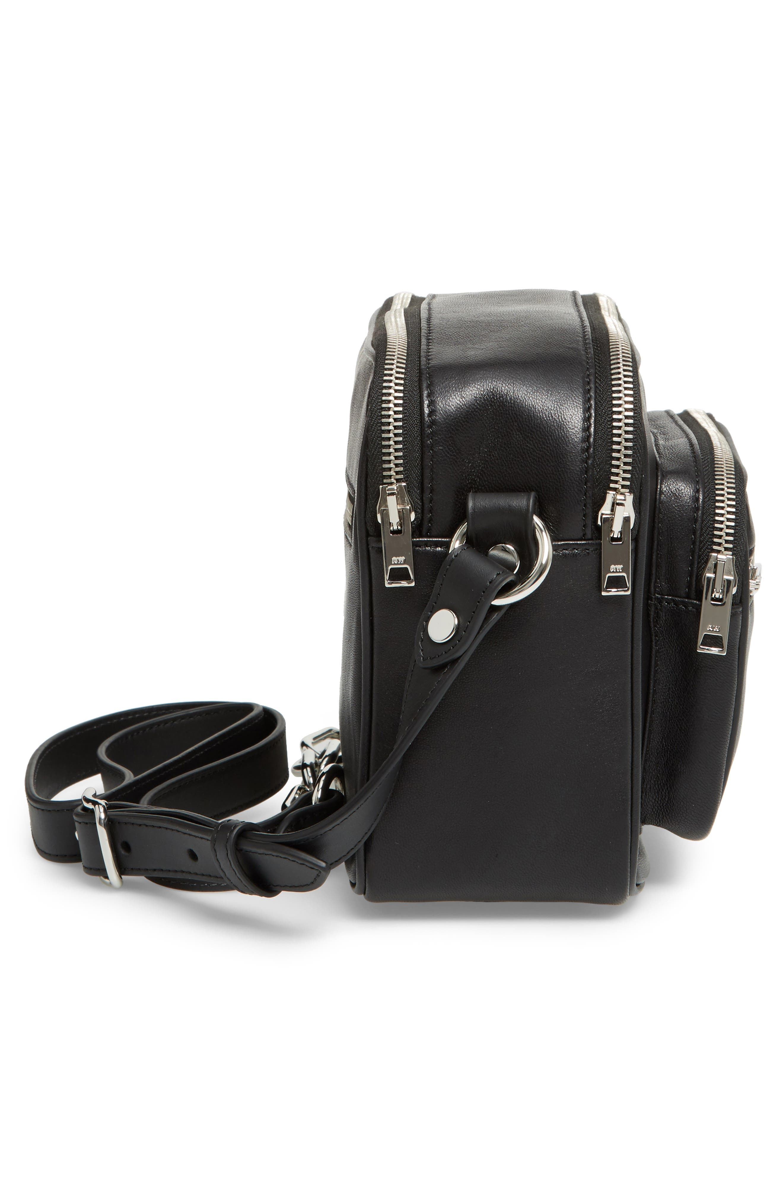 Washed Leather Crossbody Bag,                             Alternate thumbnail 5, color,                             BLACK