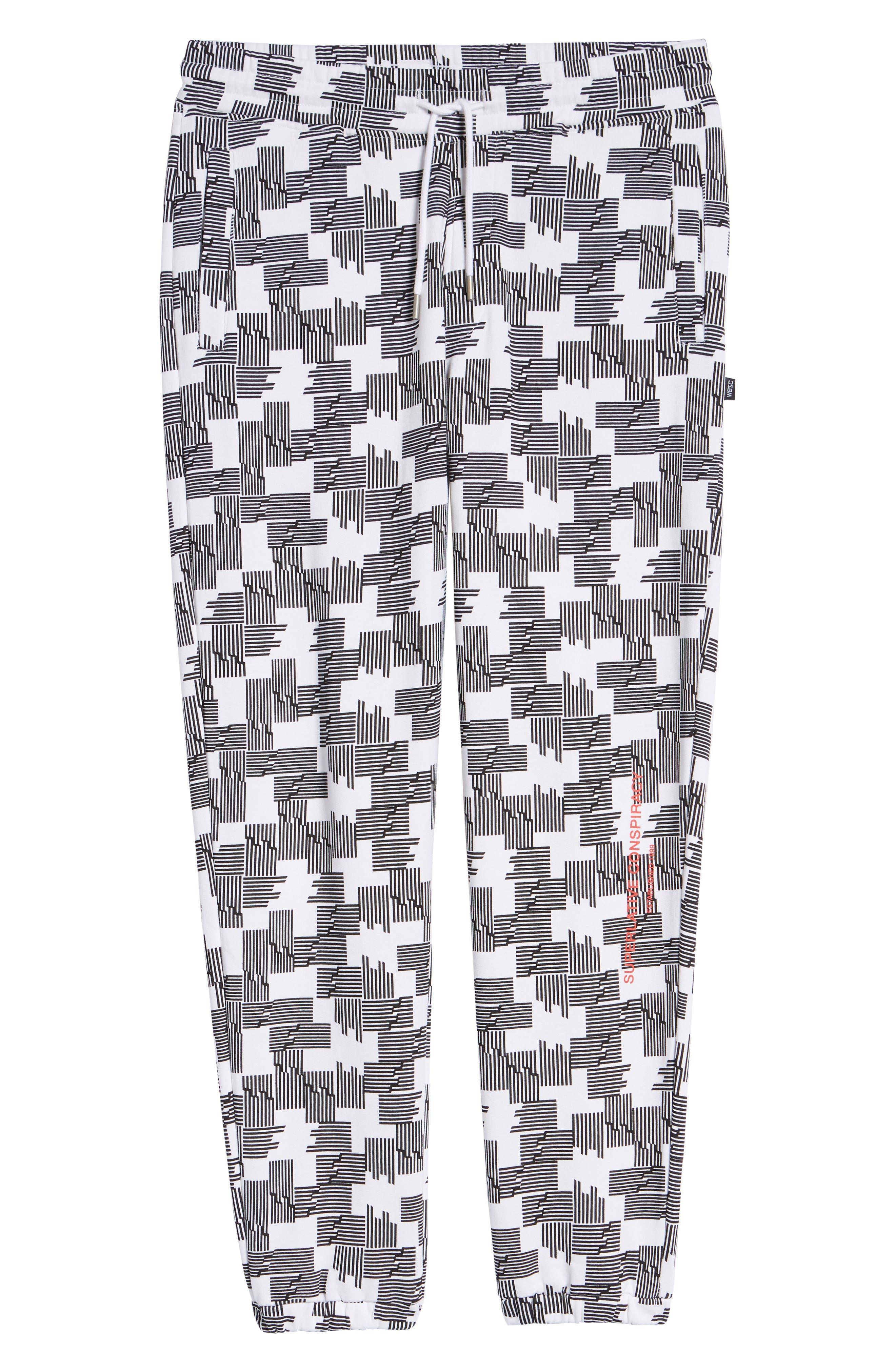 Baker Puzzle Check Sweatpants,                             Alternate thumbnail 6, color,                             BLACK