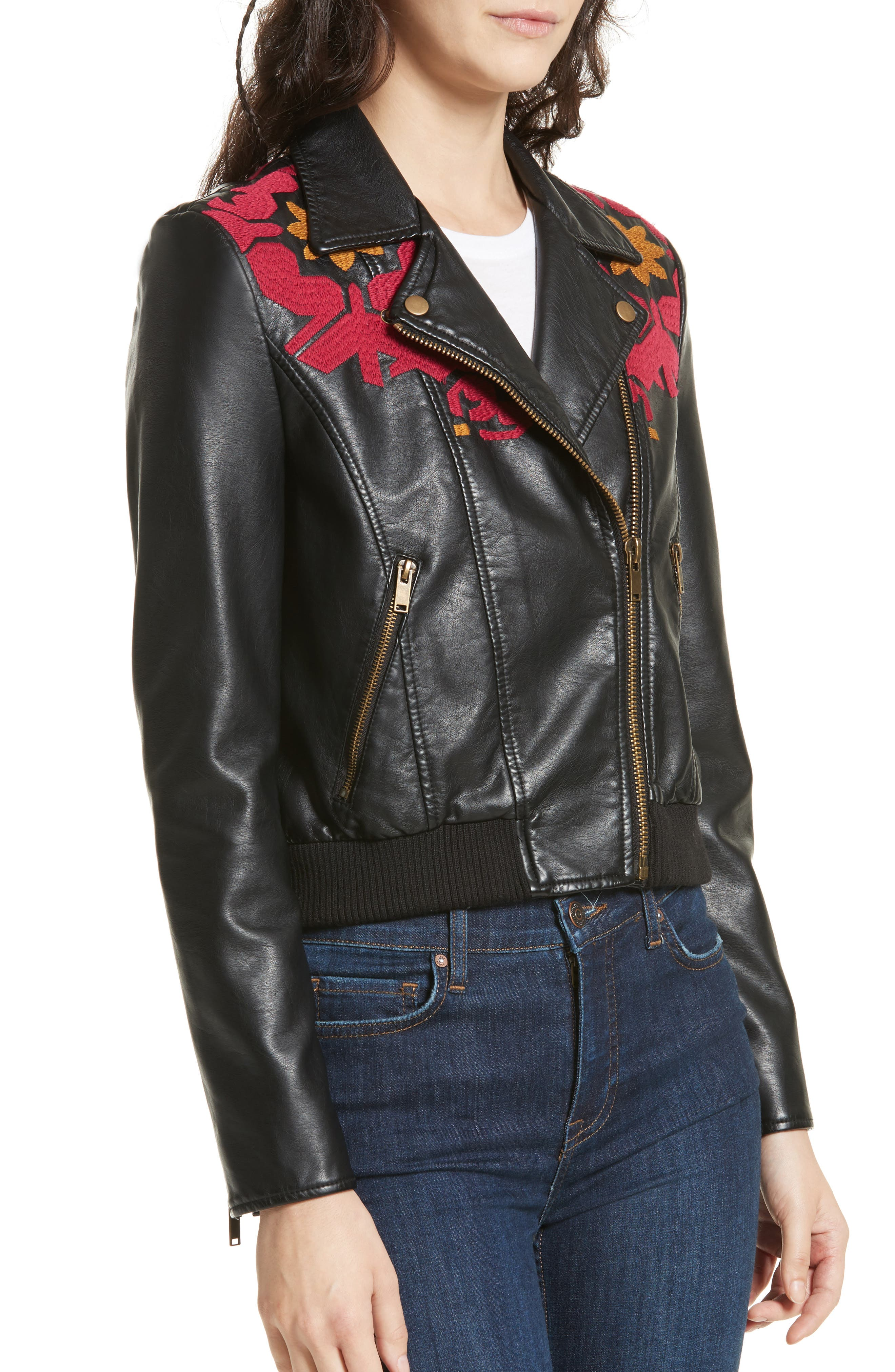 Embroidered Faux Leather Moto Jacket,                             Alternate thumbnail 4, color,                             001