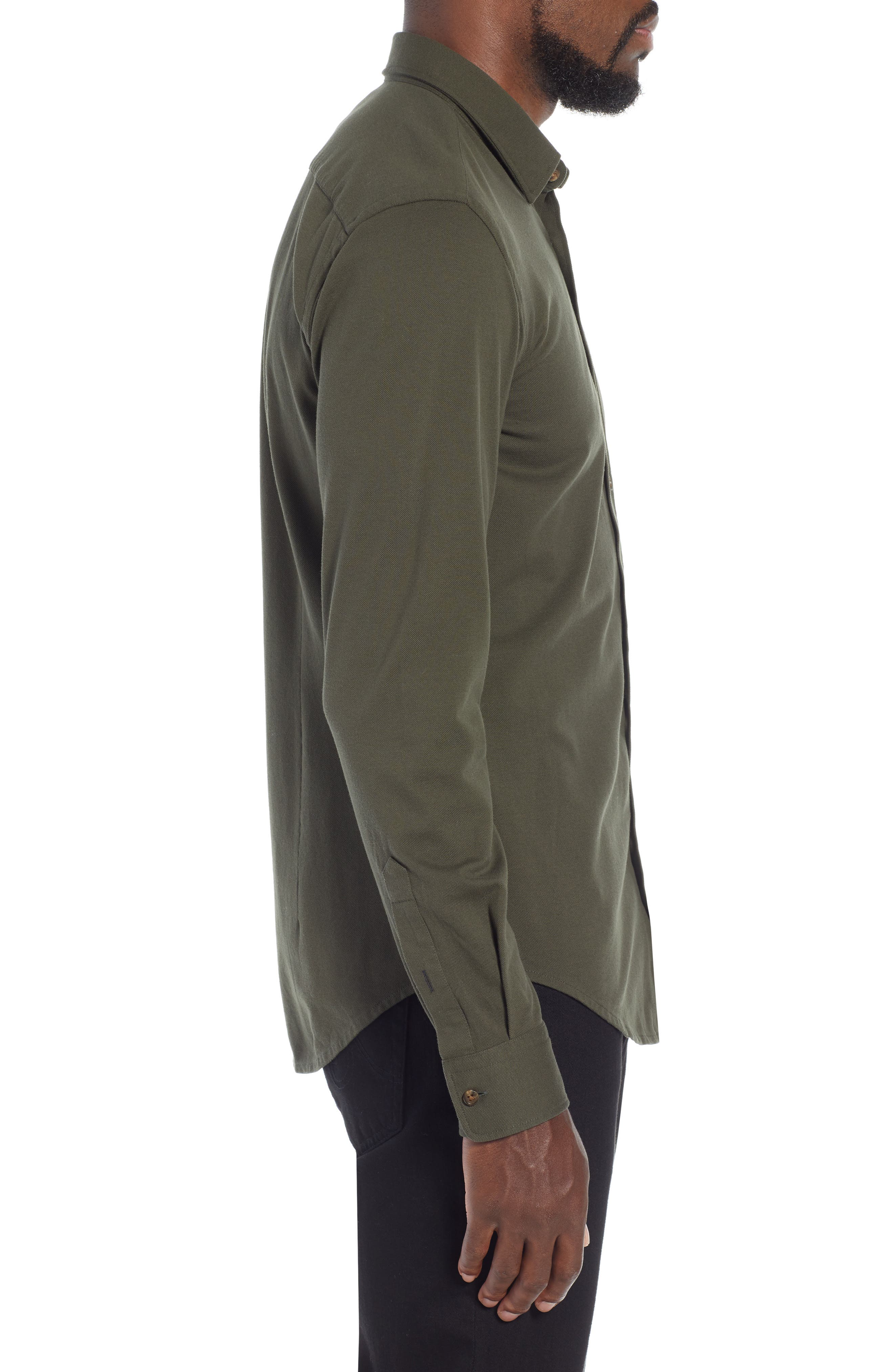 Ronni Slim Fit Solid Sport Shirt,                             Alternate thumbnail 4, color,                             GREEN