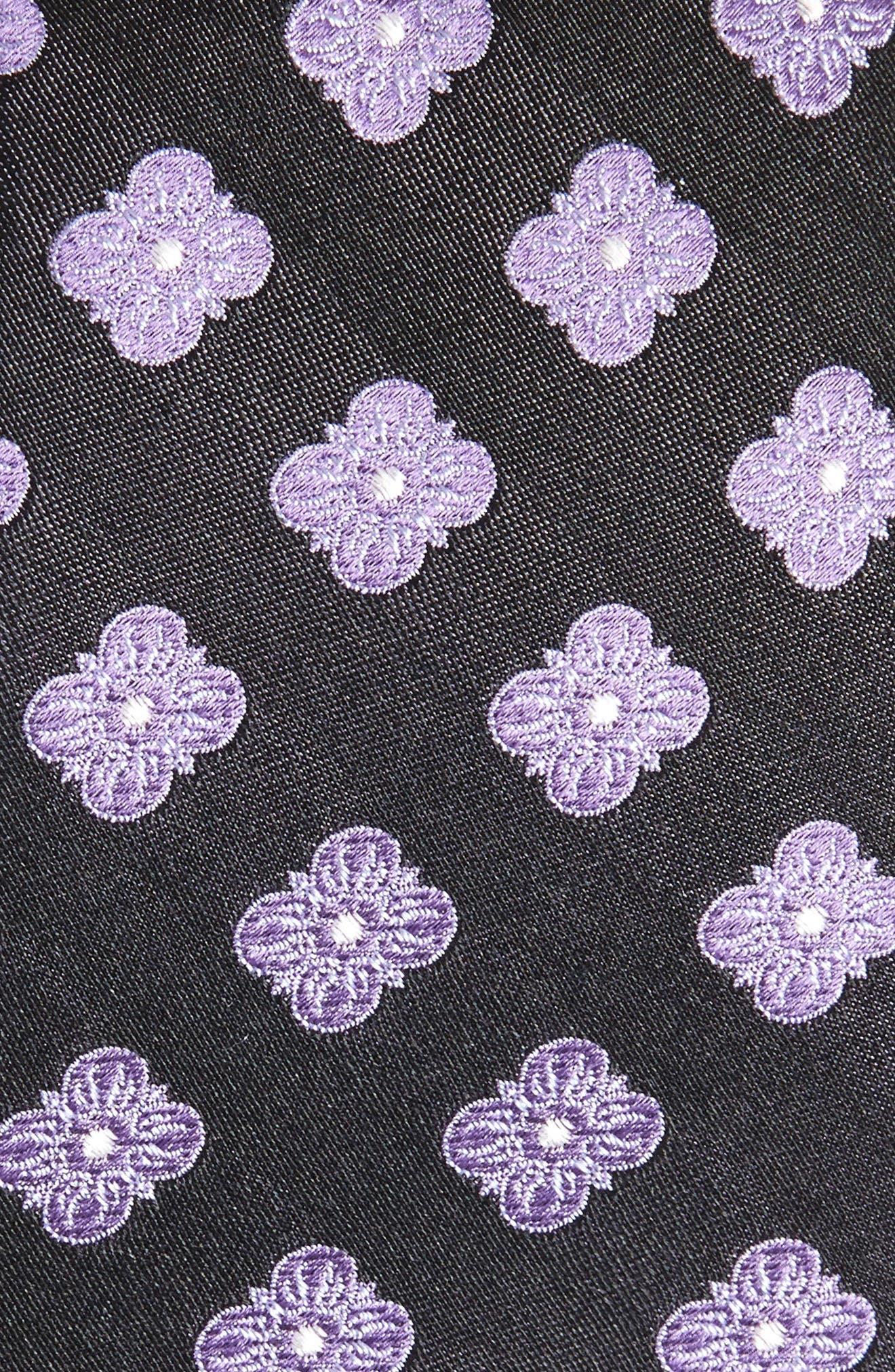Cameron Floral Medallion Silk Tie,                             Alternate thumbnail 2, color,                             BLACK