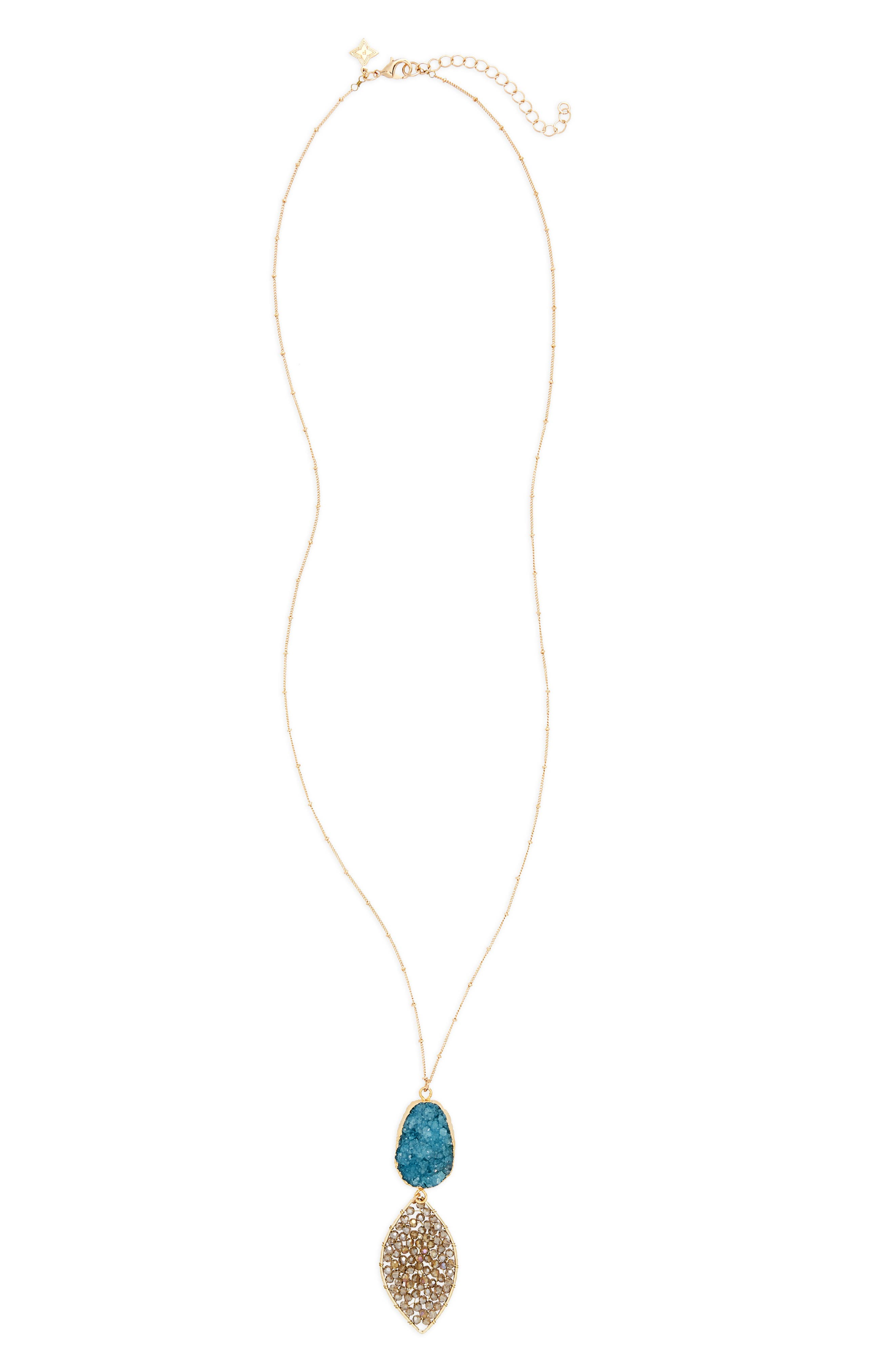 Stone & Beaded Crystal Pendant Necklace,                         Main,                         color, 440