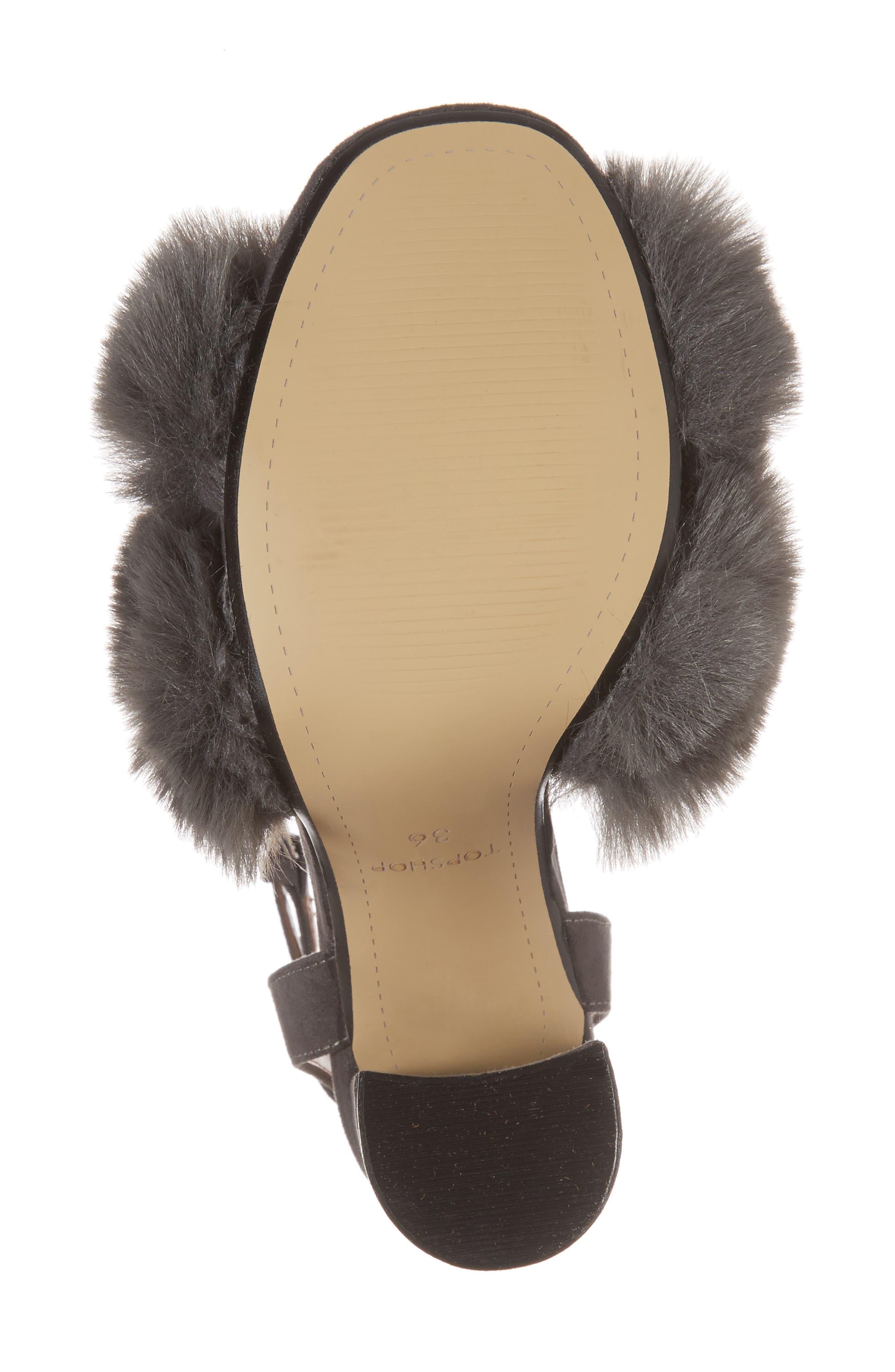 Sassy Faux Fur Sandal,                             Alternate thumbnail 6, color,                             020