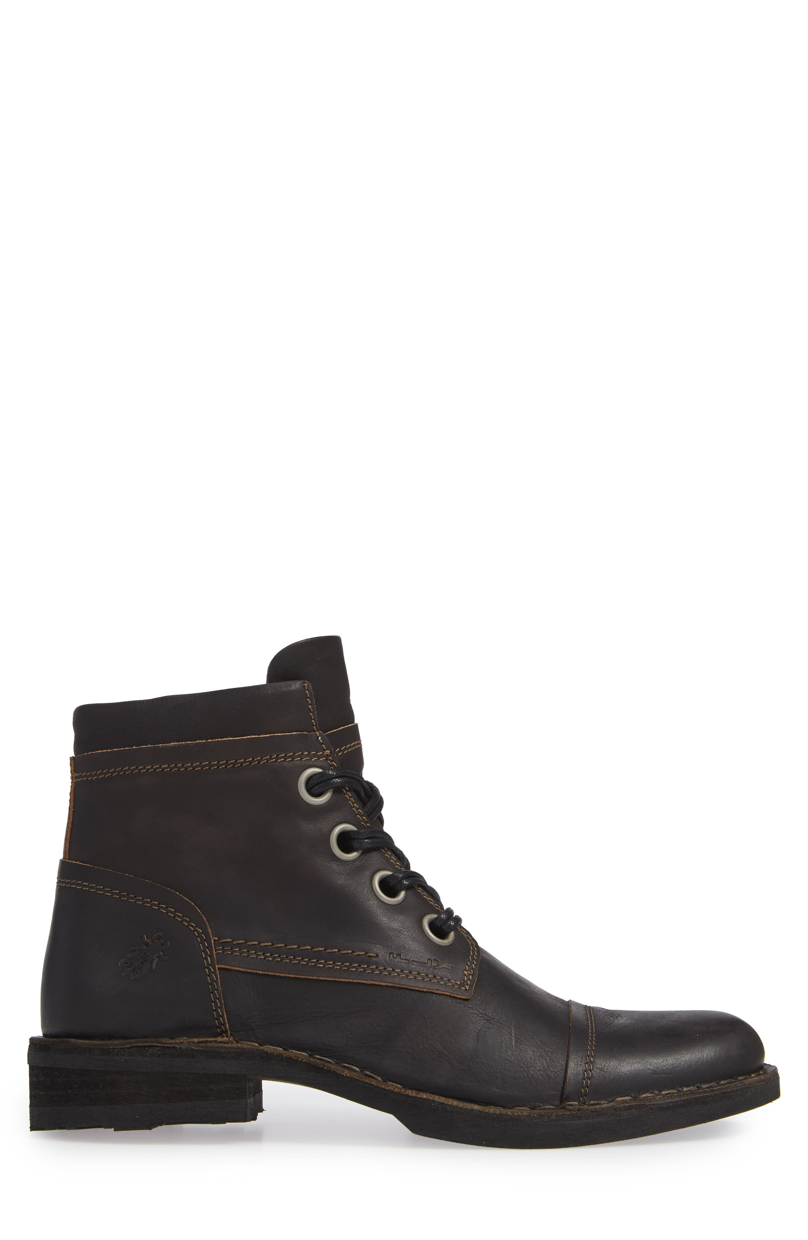 Rize Cap Toe Boot,                             Alternate thumbnail 3, color,                             BLACK SEBTA
