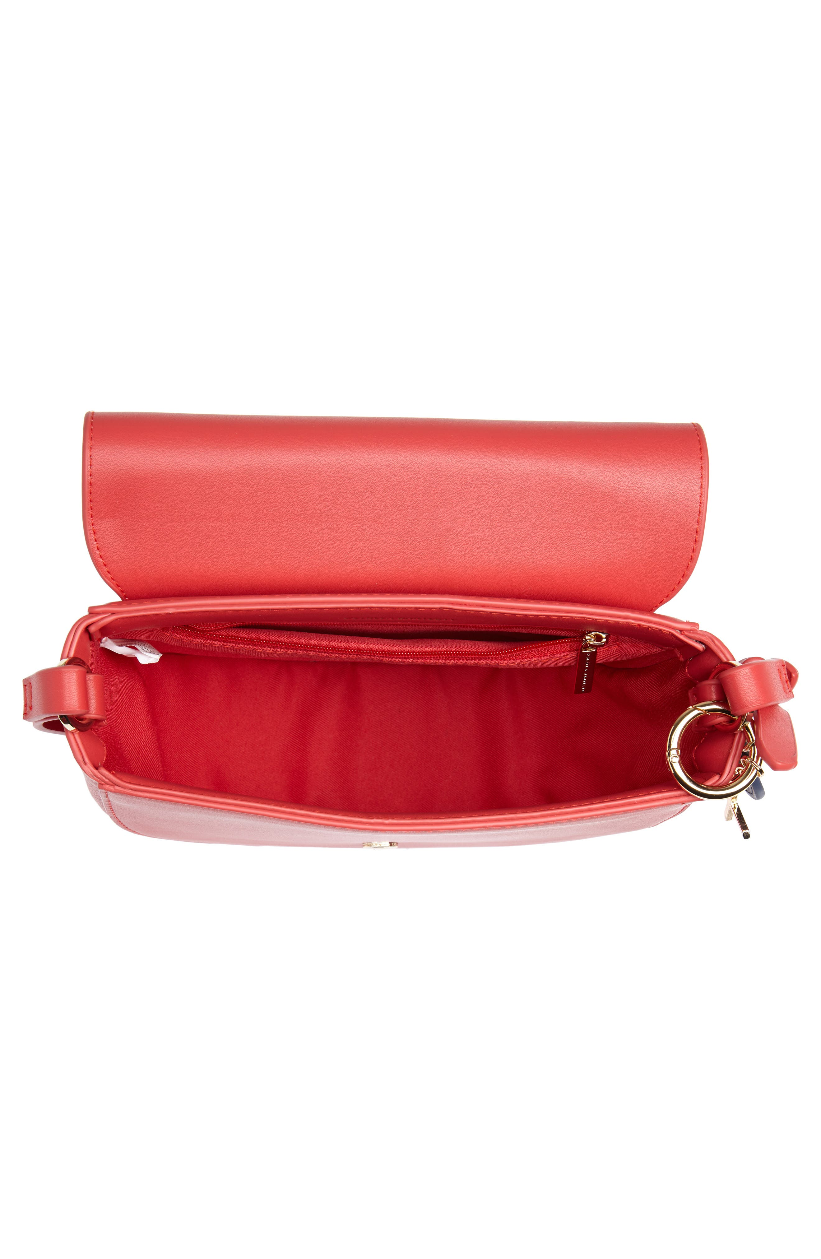 Faux Leather Saddle Bag,                             Alternate thumbnail 4, color,                             RED/ GREY