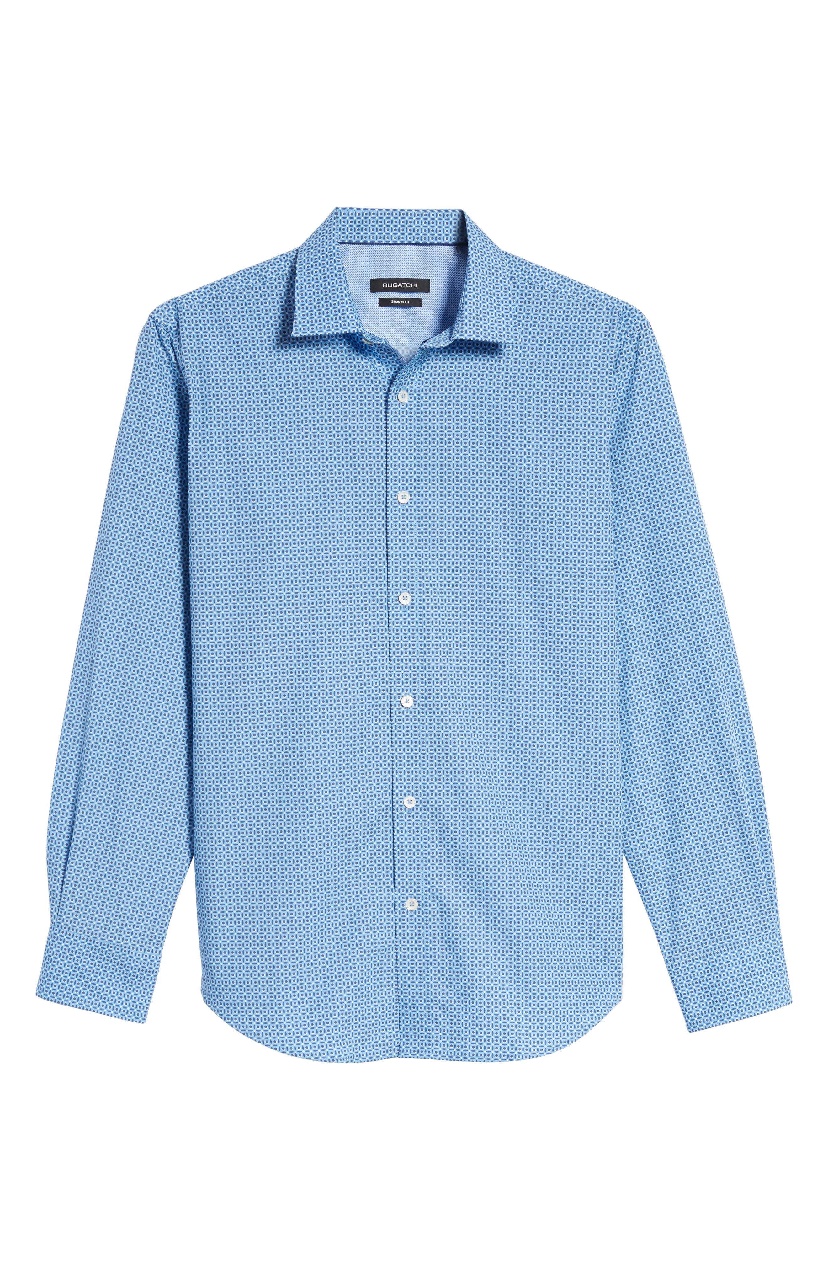 Trim Fit Dot Print Sport Shirt,                             Alternate thumbnail 6, color,                             400
