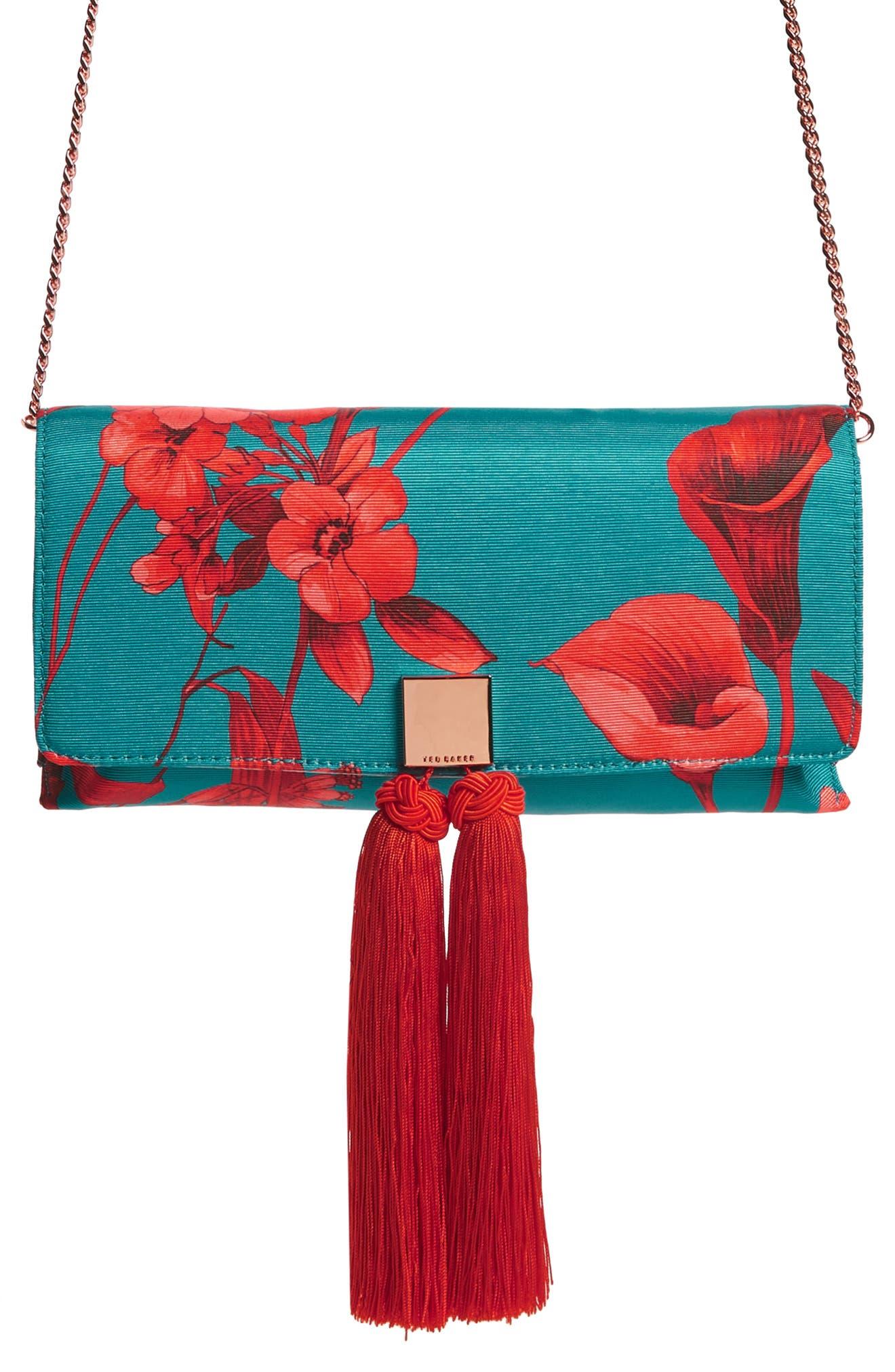Darlee Fantasia Tassel Bag,                             Main thumbnail 1, color,                             TURQUOISE