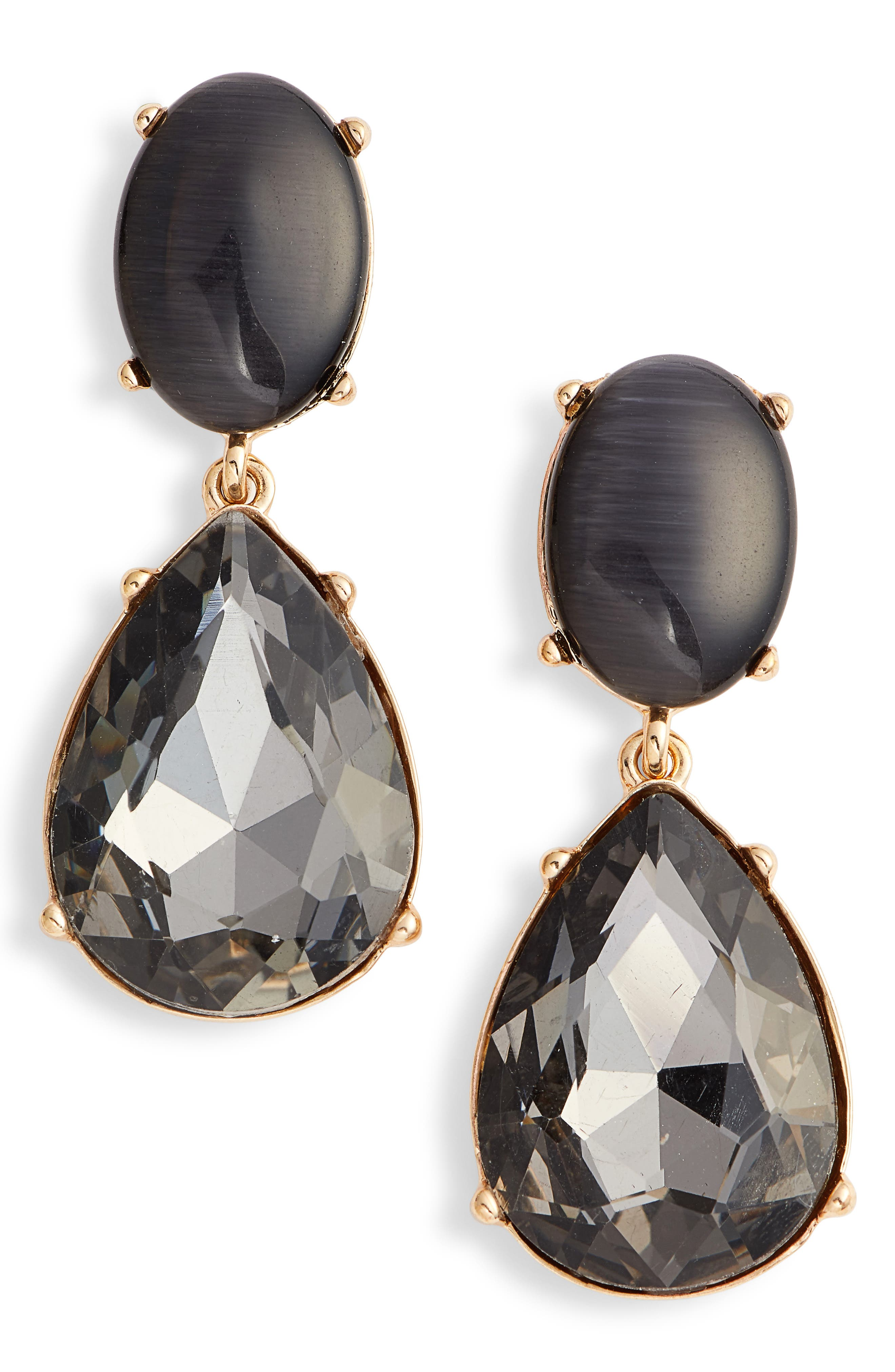 Gemstone Statement Double Drop Earrings,                         Main,                         color, BLACK- GOLD