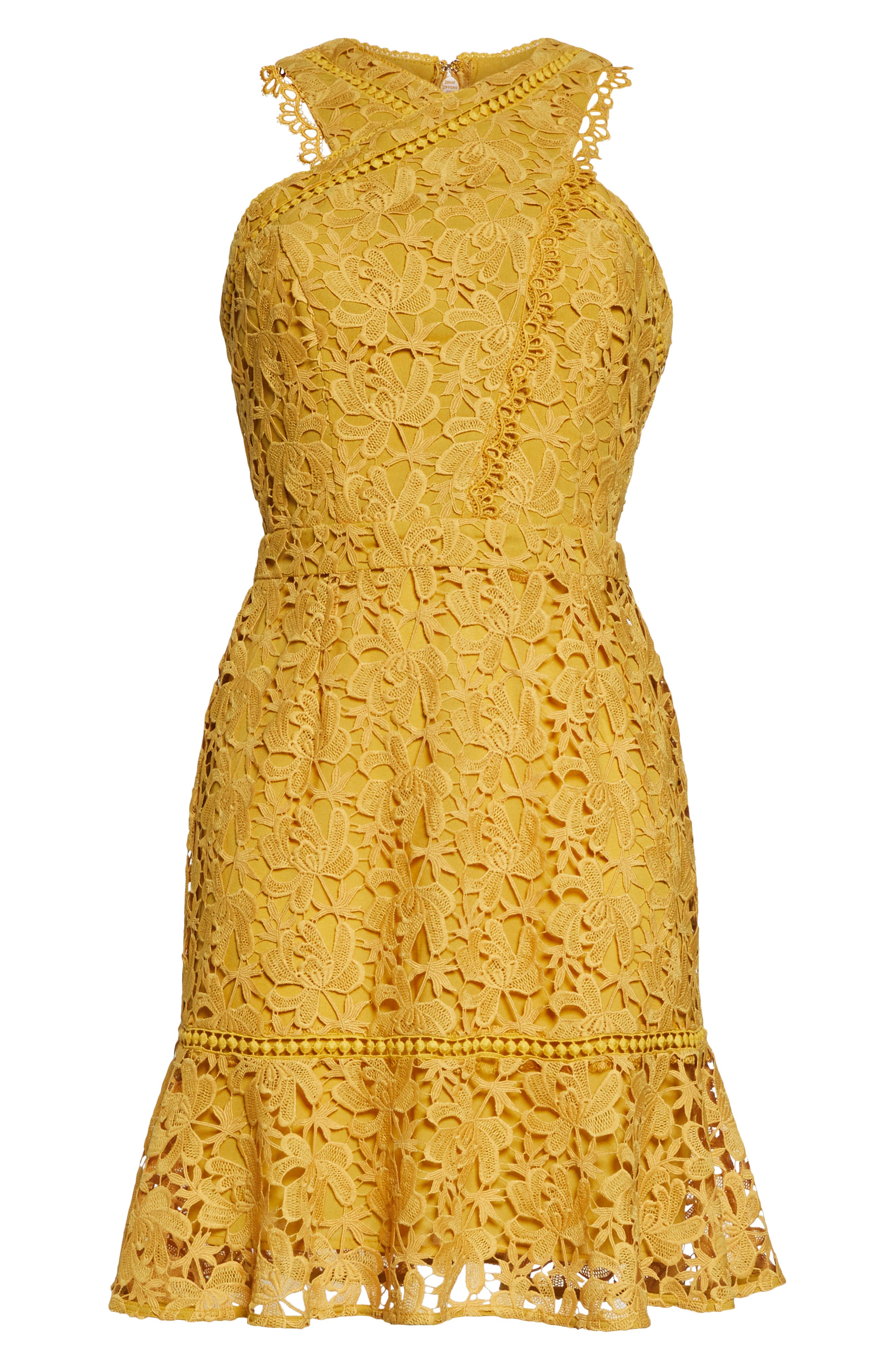 ADELYN RAE,                             Jessie Crisscross Neck Lace Dress,                             Alternate thumbnail 7, color,                             FREESIA
