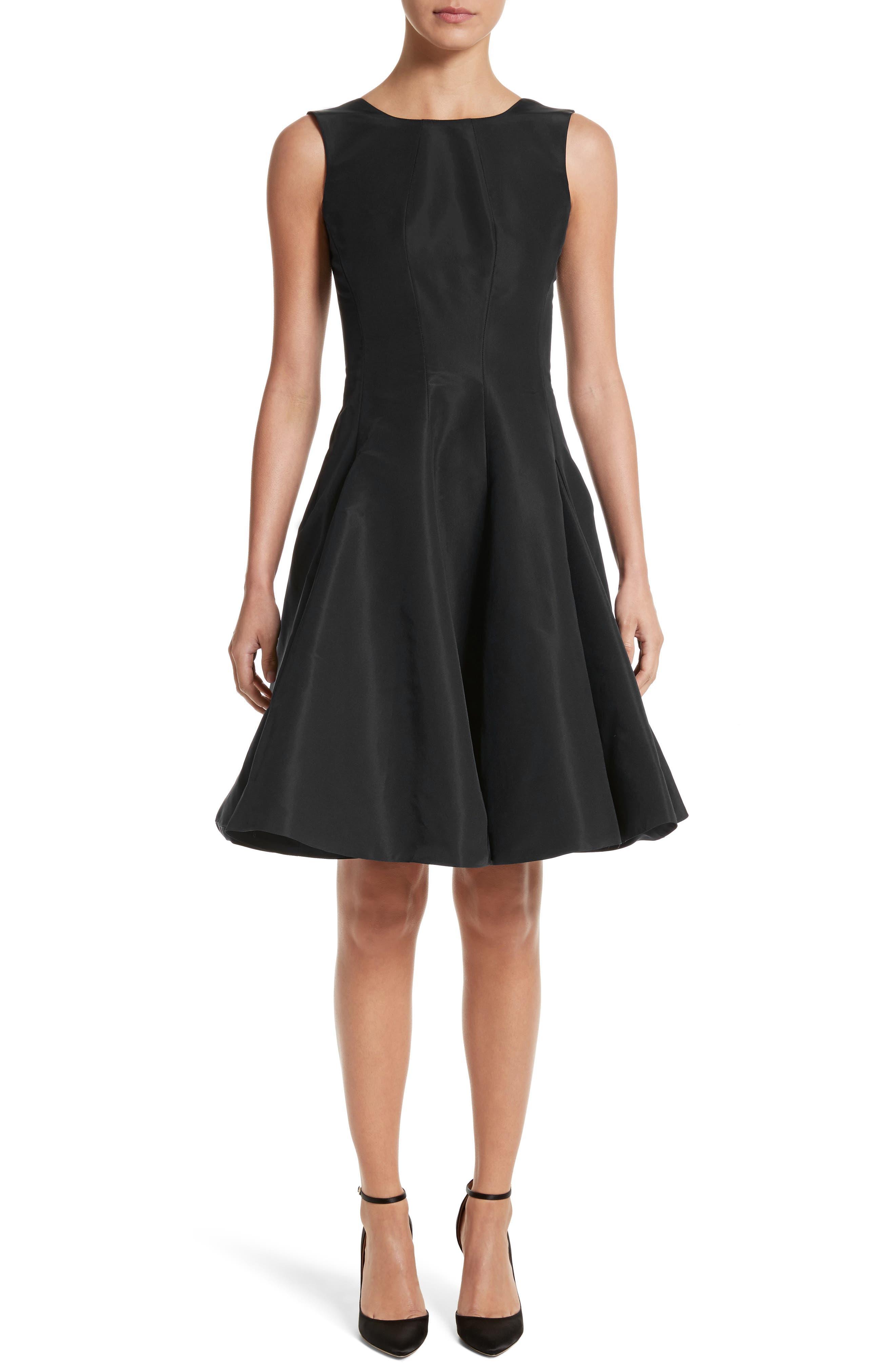 Scoop Back Pleat Silk Faille Dress,                         Main,                         color, 001