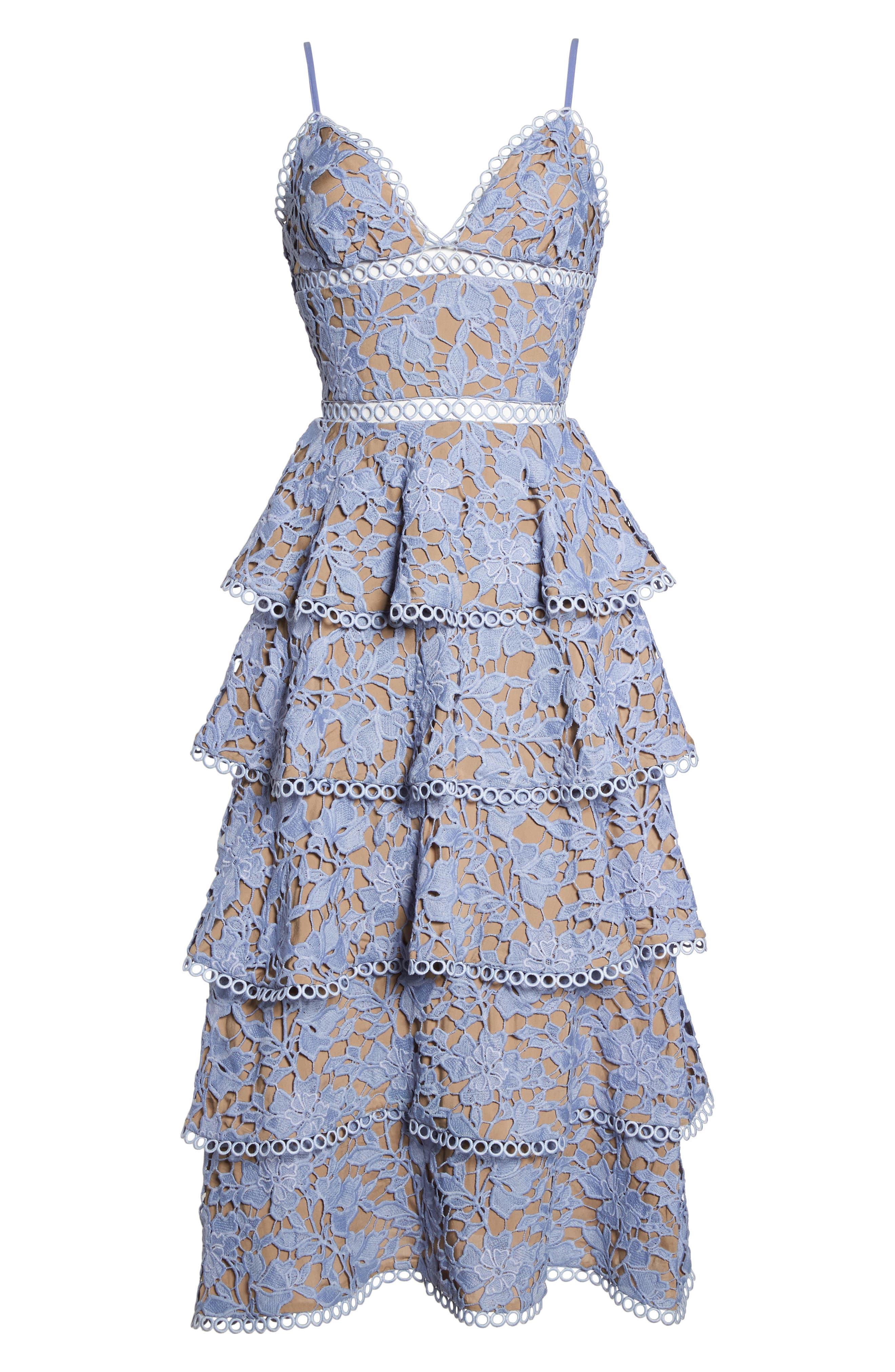 Camellia Lace Tiered Midi Dress,                             Alternate thumbnail 6, color,                             VIOLET