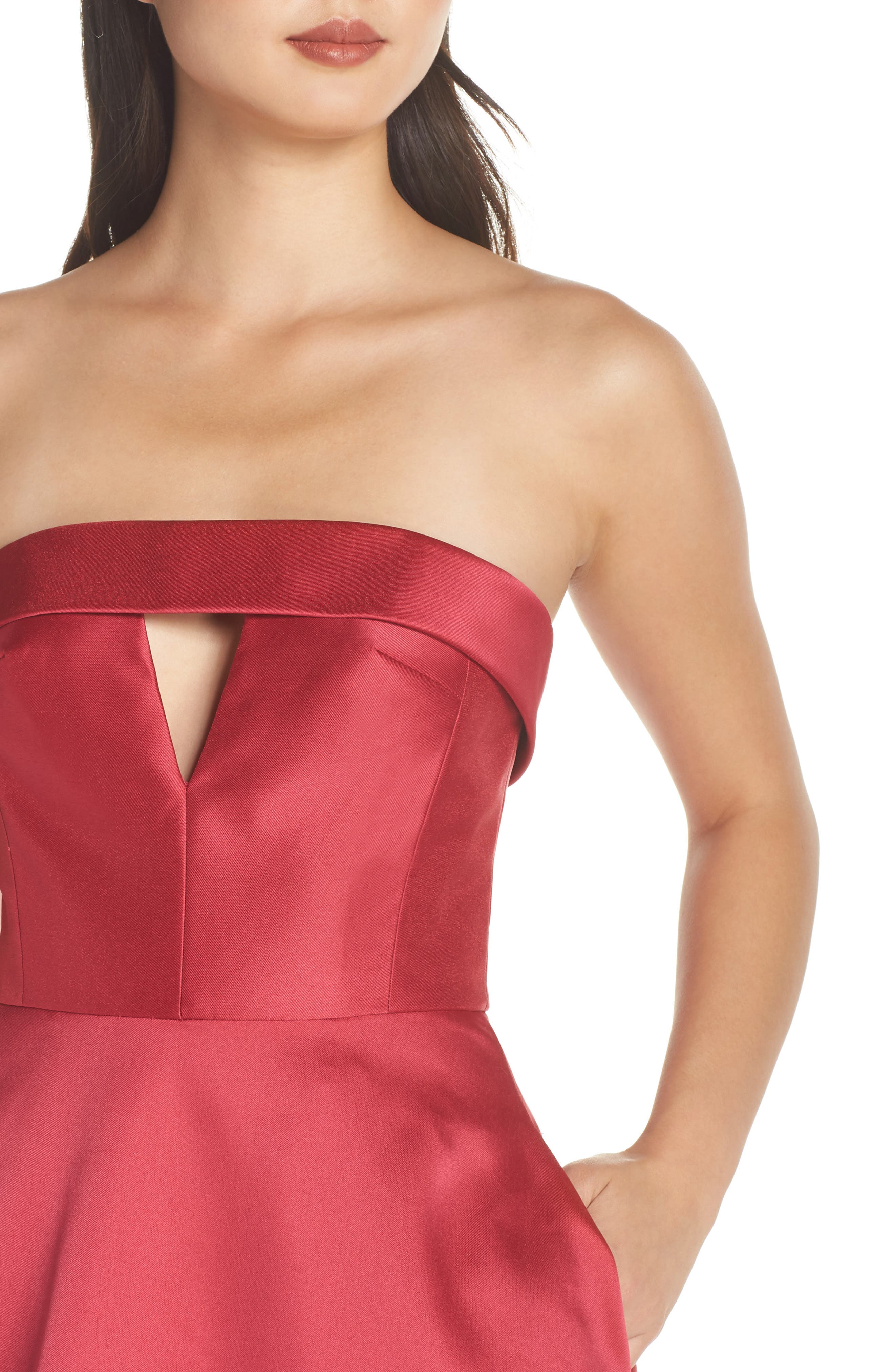 Strapless Satin Ballgown,                             Alternate thumbnail 4, color,                             DEEP PINK