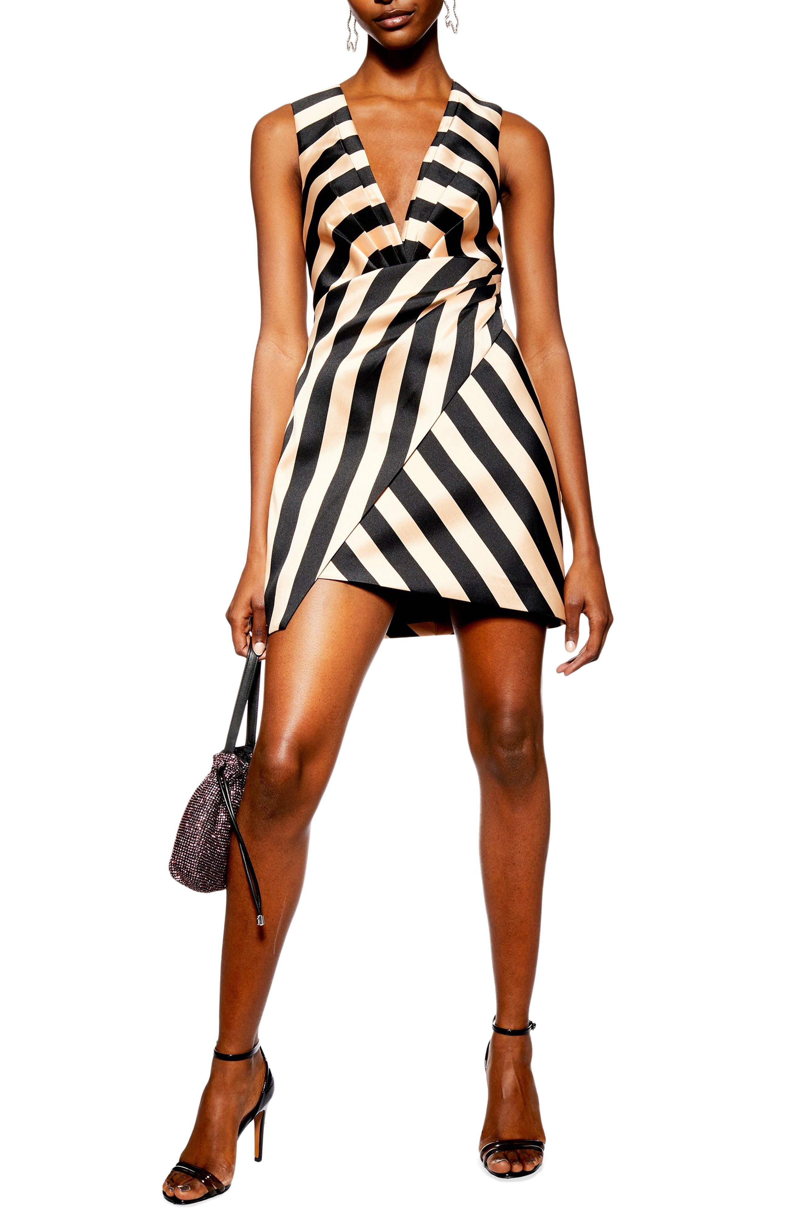Topshop Stripe Wrap Structured Minidress, US (fits like 2-4) - Black