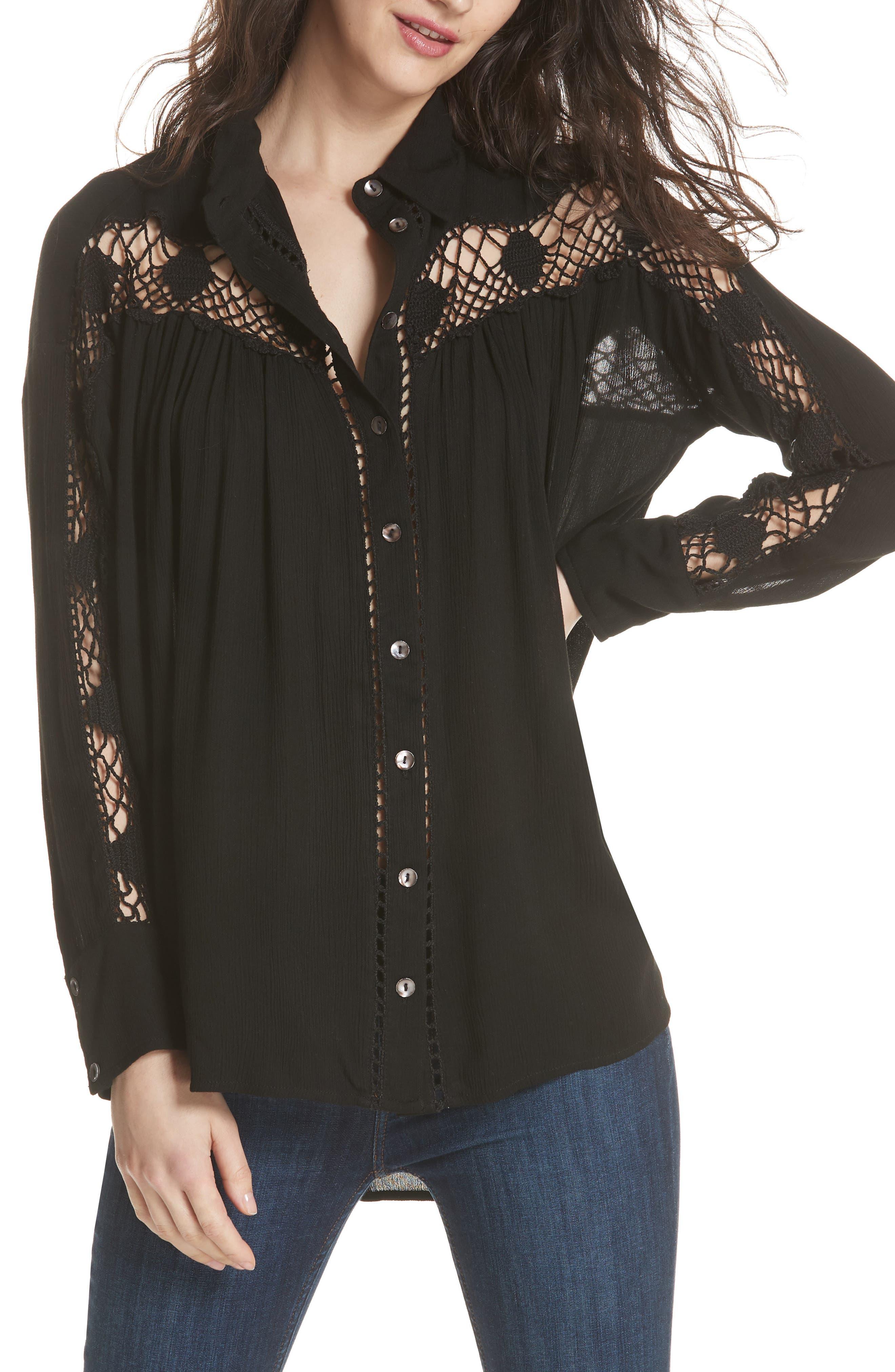 Katie Bird Crochet Inset Shirt,                         Main,                         color,