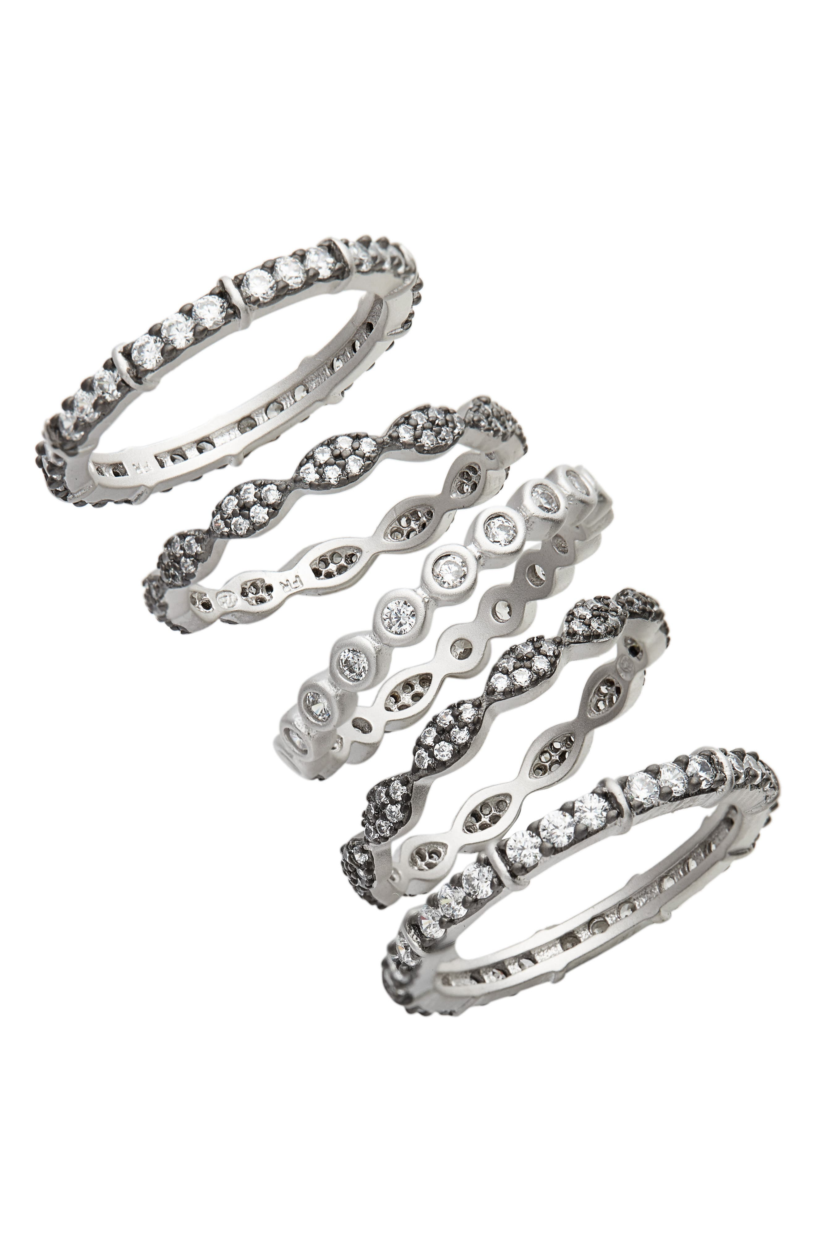 Classic Mixed 5-Stack Ring,                         Main,                         color, BLACK/ WHITE/ SILVER
